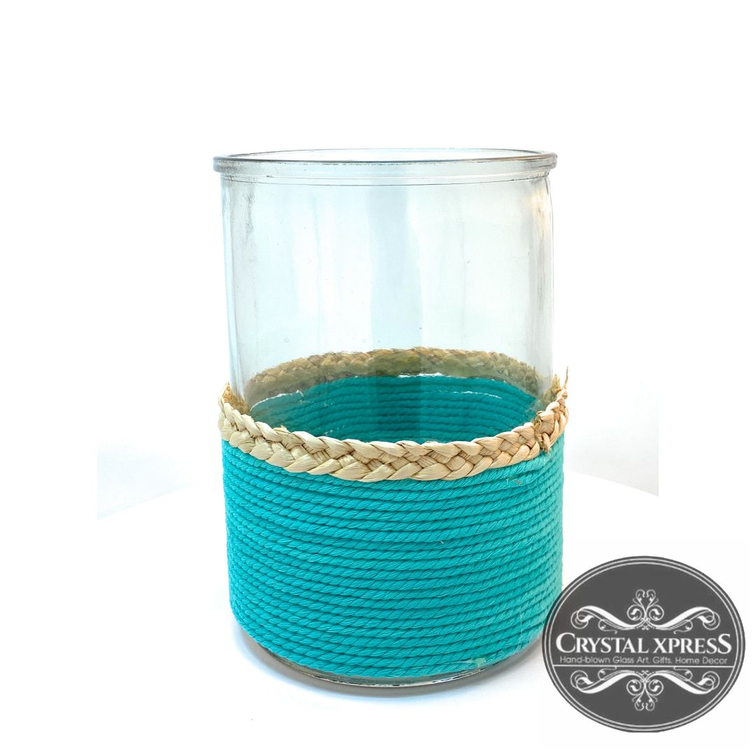 "New 8.5"" Hand Blown Glass Cylinder Turquoise Rope Vase with Star Fish DecorationCrystal Xpress"