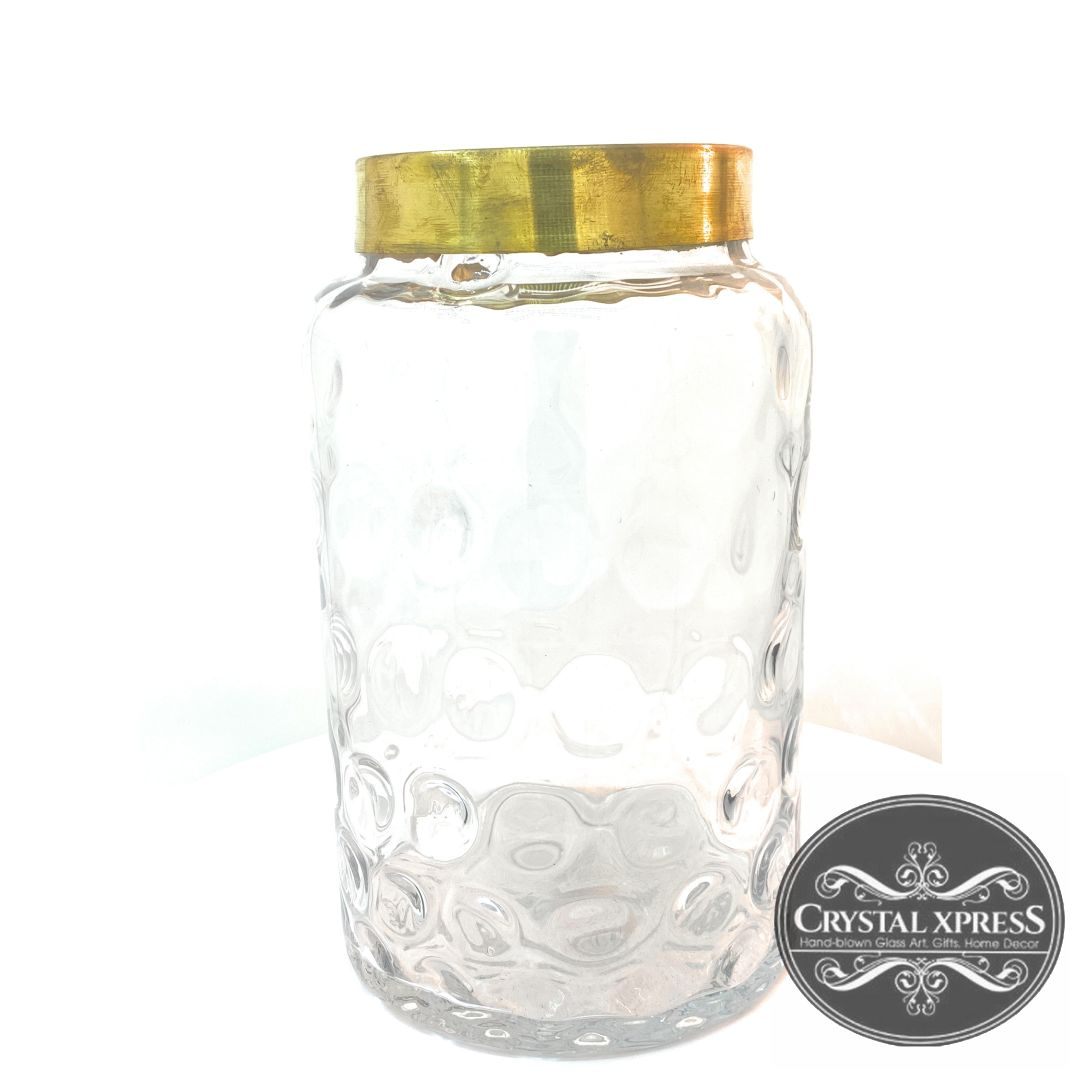 "New 10.5"" x 6"" Cylinder Decorated Hand Blown Glass Clear Vase with Golden Rustic RimCrystal Xpress"