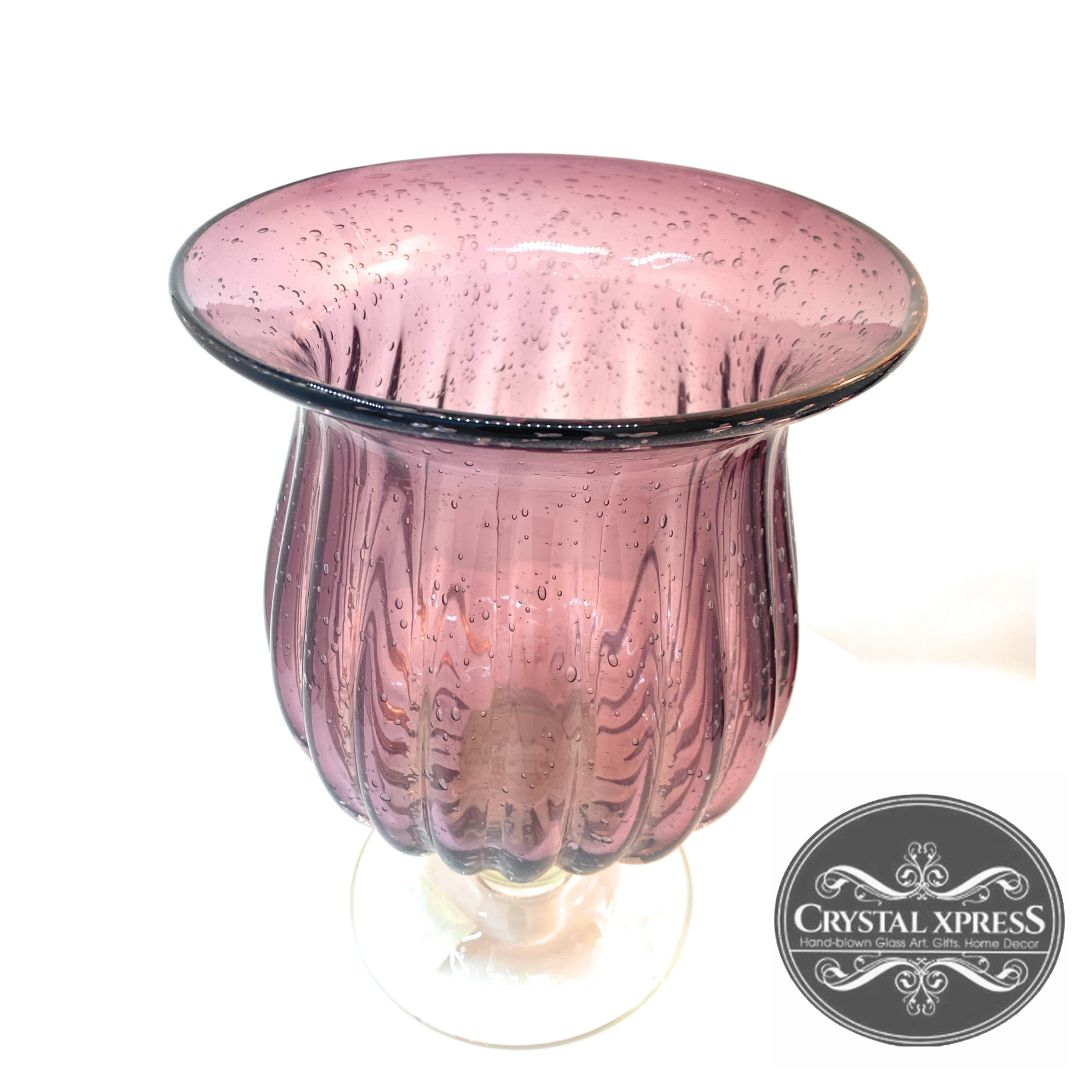 "New 10"" x 7.5""  Hand Blown Glass Purple Hurricane Candle Holder and VaseCrystal Xpress"