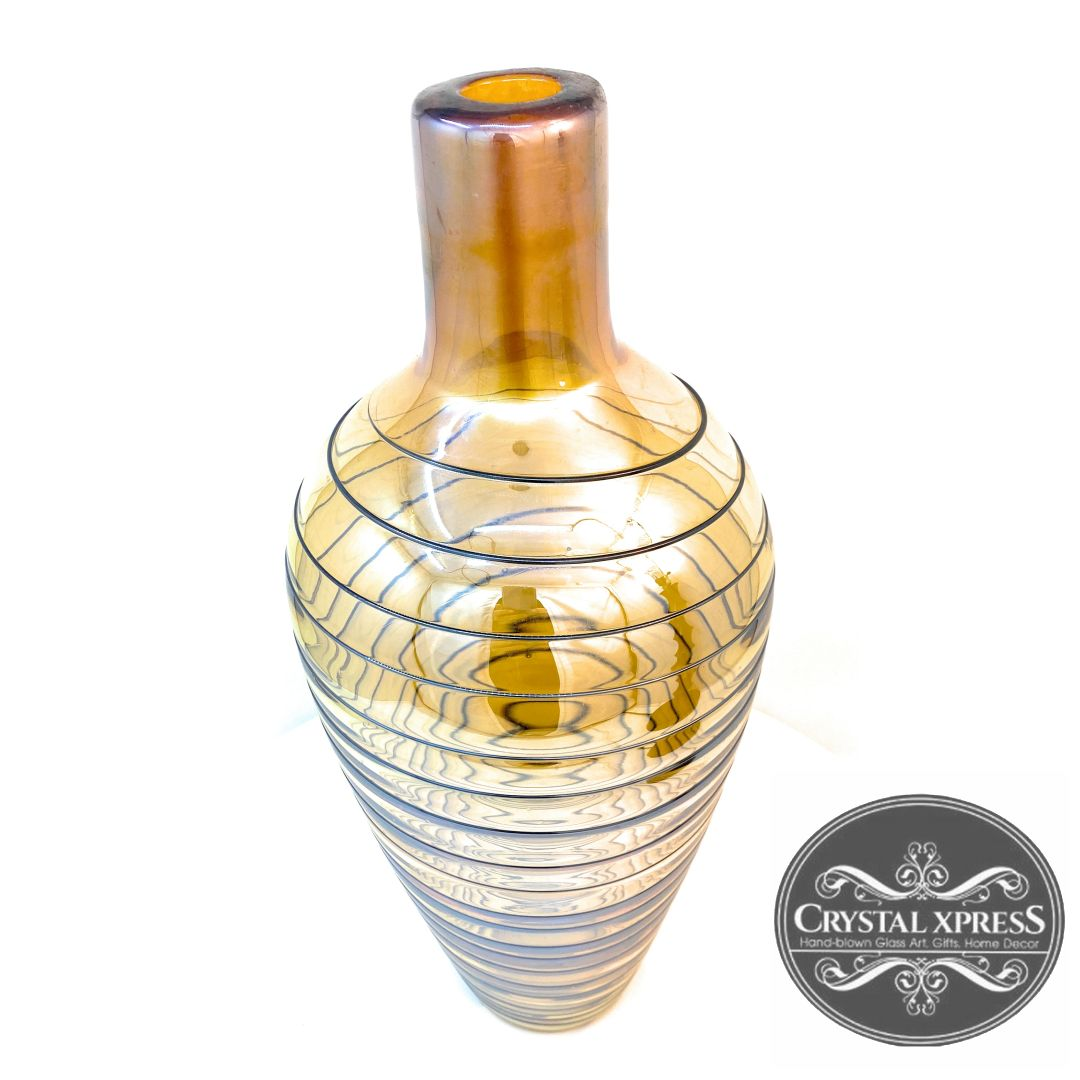 "New 14"" x 6""  Hand Blown Glass Amber / Golden with swirling black lines VaseCrystal Xpress"