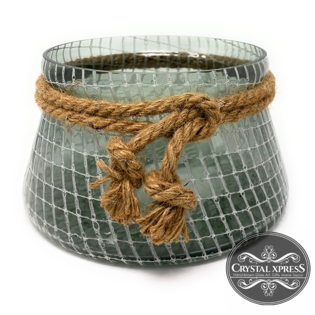 "New 9"" in Diameter Hand Blown Glass Decorated Vase with Rustic Rope Smoky GlassCrystal Xpress"