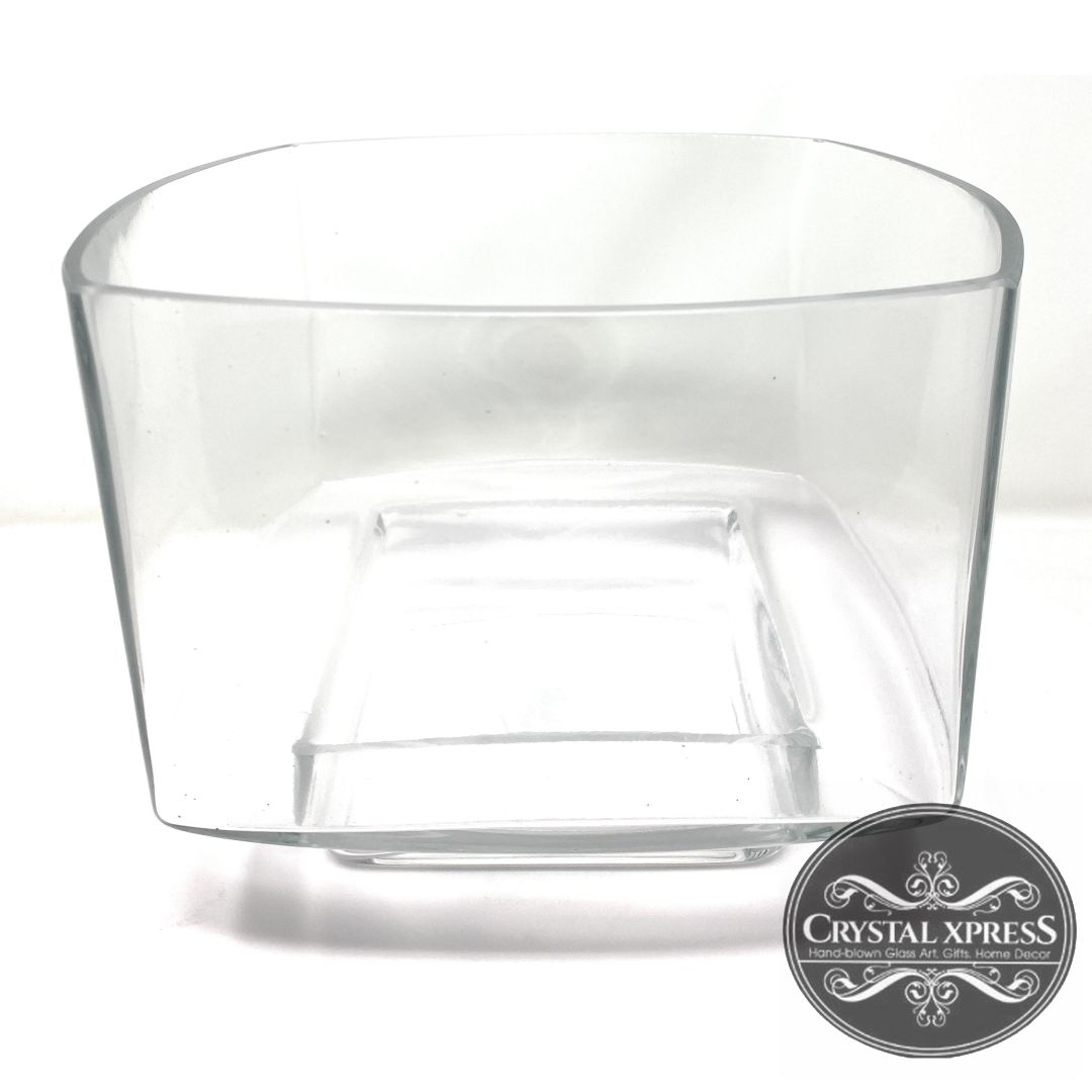 "9"" x 9"" x 6.5"" Square with round edges Hand Blown Glass Clear VaseCrystal Xpress"