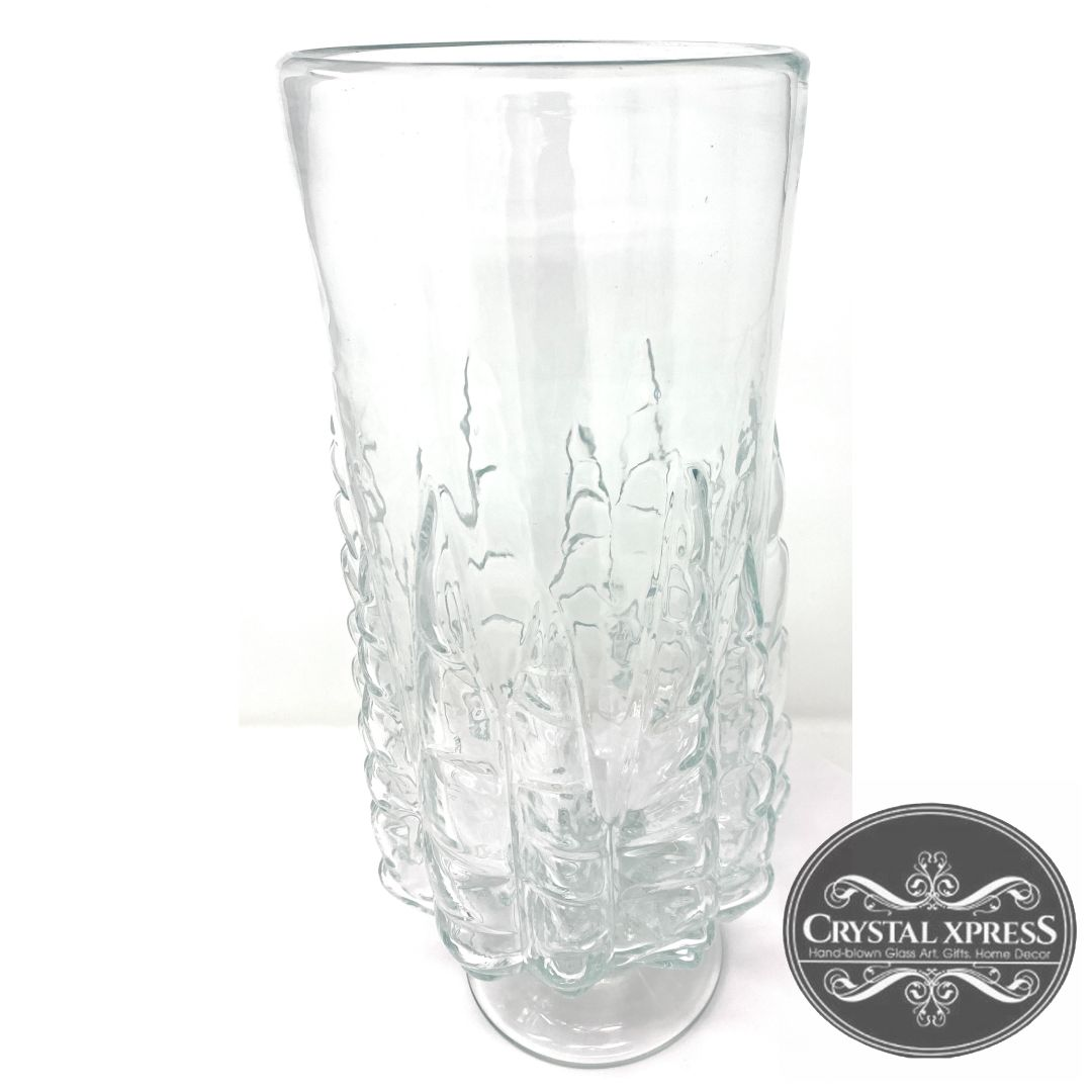 "New 17"" x 7"" Hand Blown Glass Clear Decorated VaseCrystal Xpress"