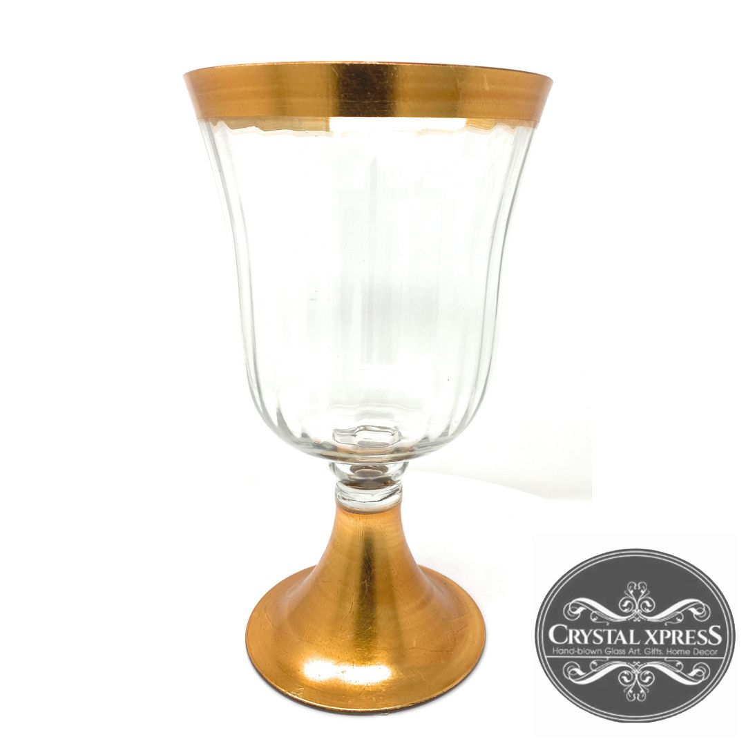 "New 11.5"" Hand Blown Glass Golden Bottom and Golden rim Lid Vase and Hurricane Candle HolderCrystal Xpress"