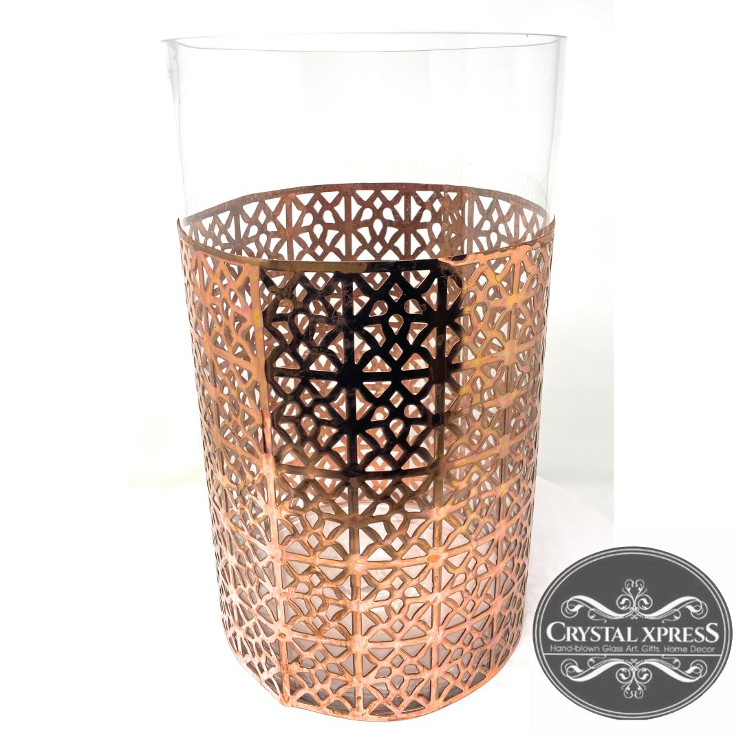 "New 14"" Hand Blown Glass Vase with shiny and decorated Copper ShieldCrystal Xpress"