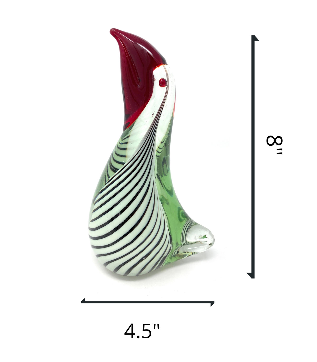 "New 8"" Hand Blown Glass White with Stripes and Red Beak Pelican Sculpture FigurineCrystal Xpress"