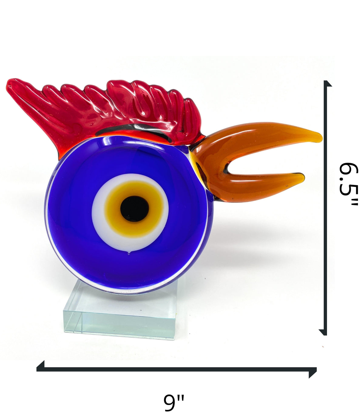 "New 9"" Hand Blown Glass Glass Rooster Chicken Head Abstract Art Trophy and StandCrystal Xpress"