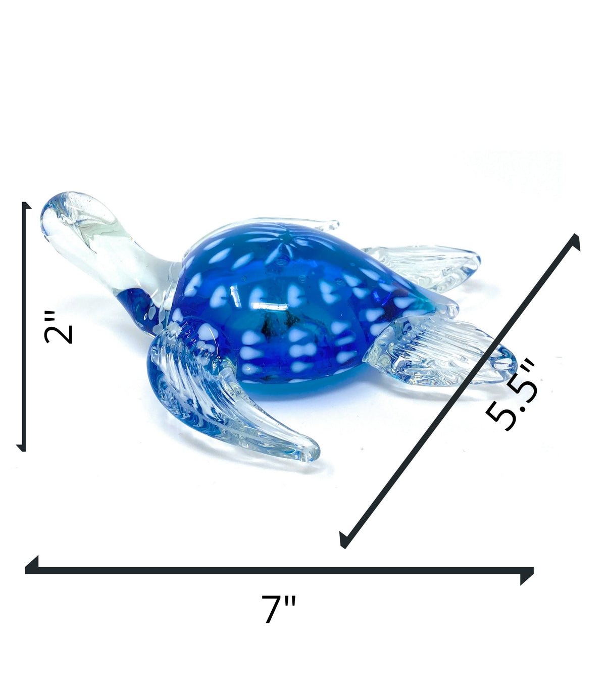 "New 7"" Hand Blown Glass Blue with White Dots Turtle Sculpture FigurineCrystal Xpress"