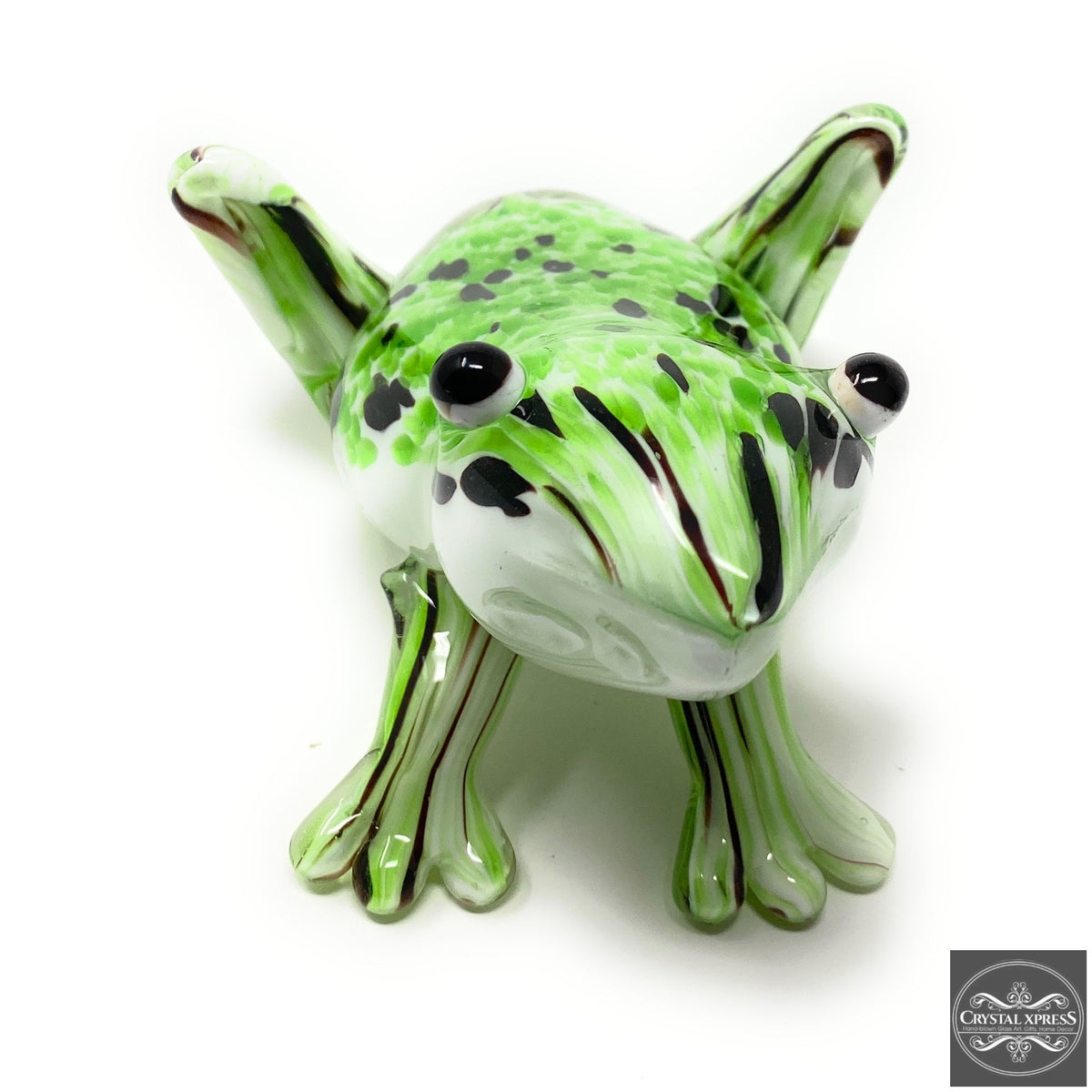 "Crystal Xpress New 6"" Hand Blown Glass Green Frog Figurine SculptureCrystal Xpress"