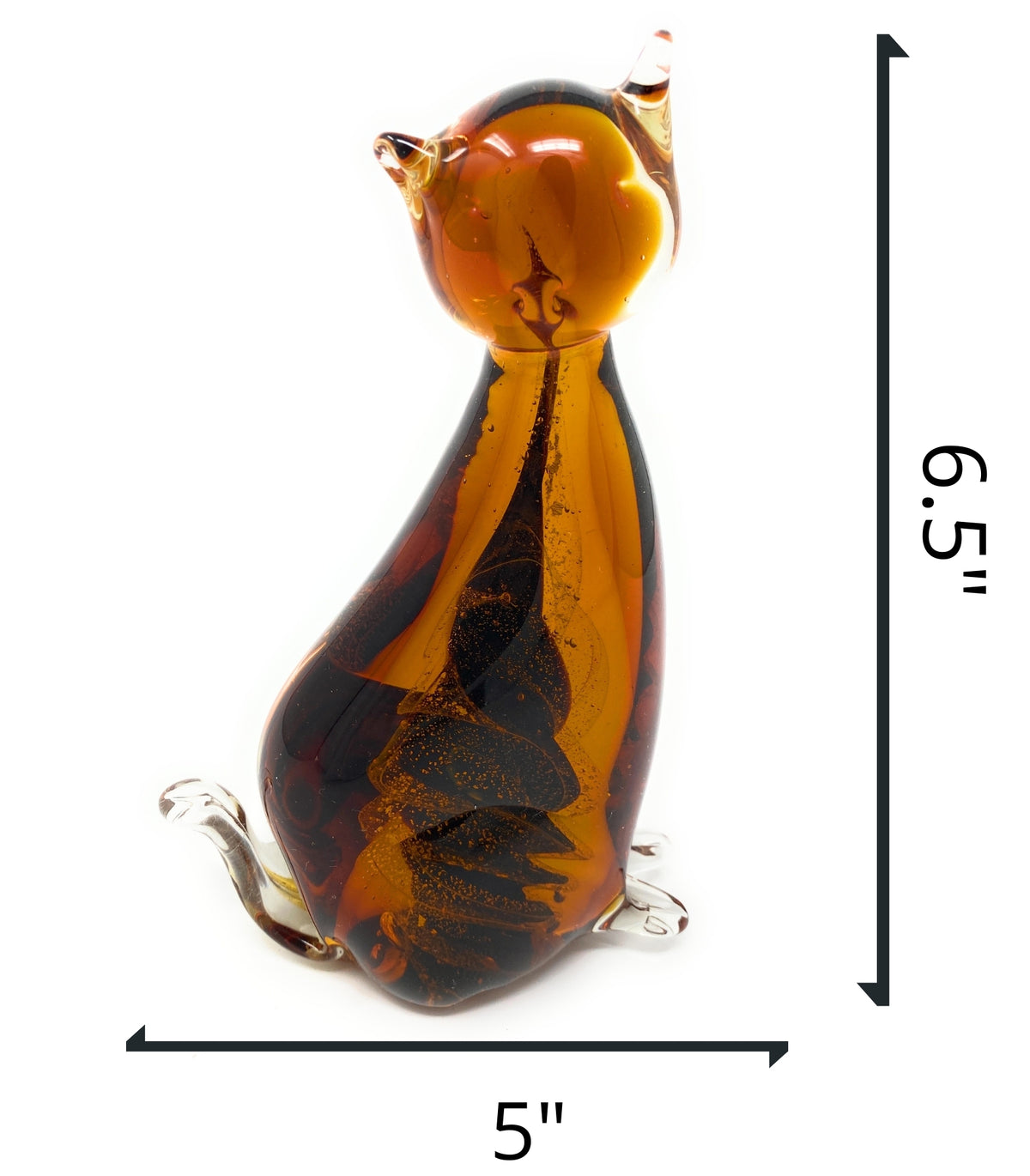 "New 8"" Hand Blown Glass Amber Color Cat FigurineCrystal Xpress"