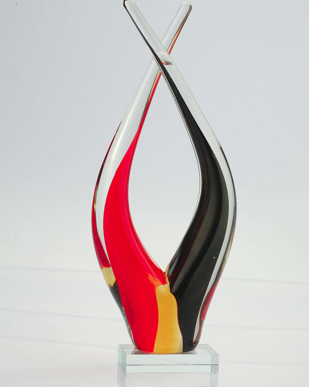 Abstract Hand-Blown Glass Art SculptureCrystal Xpress