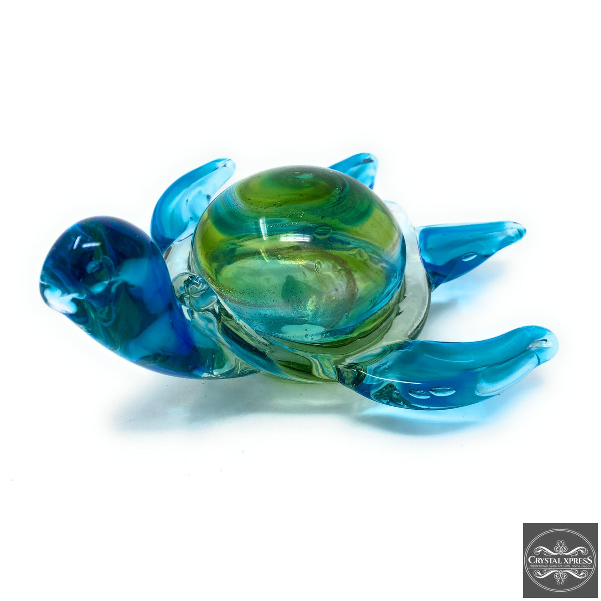 "New 8"" Hand Blown Glass Sea Turtle with Blue and Green Colors Figurine SculptureCrystal Xpress"