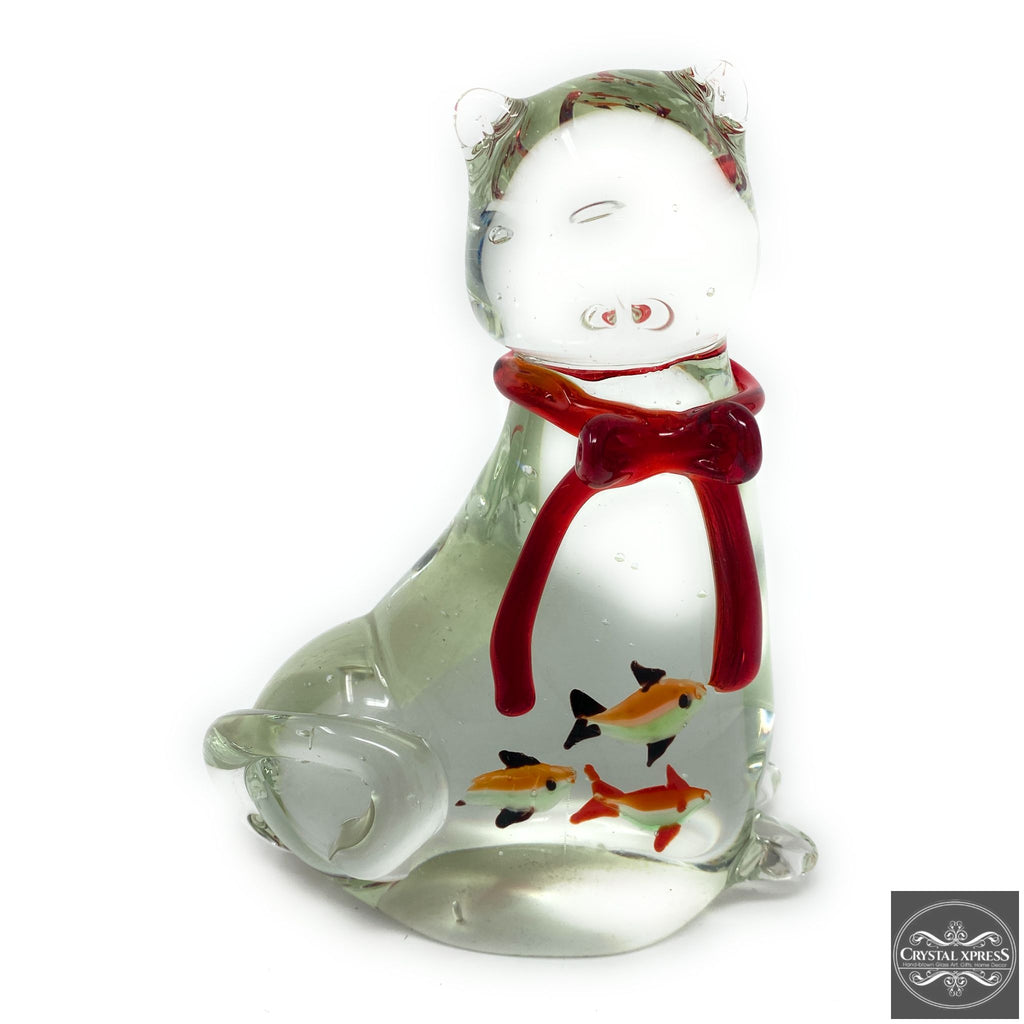 "New 6"" Hand Blown Glass Cat Figurine with Red Ribbon Around Neck and Small Fish Inside The Belly"