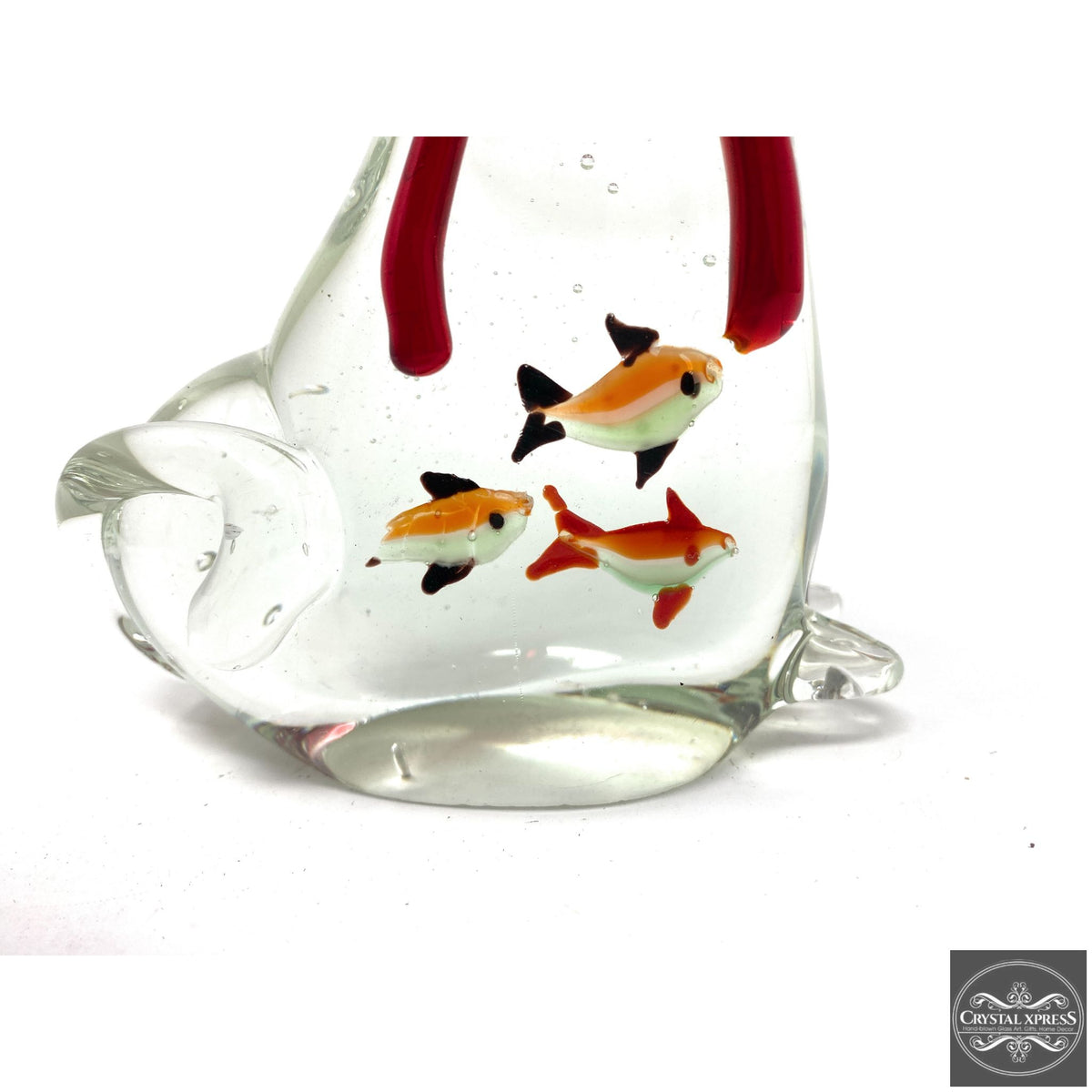 "New 6"" Hand Blown Glass Cat Figurine with Red Ribbon Around Neck and Small Fish Inside The BellyCrystal Xpress"