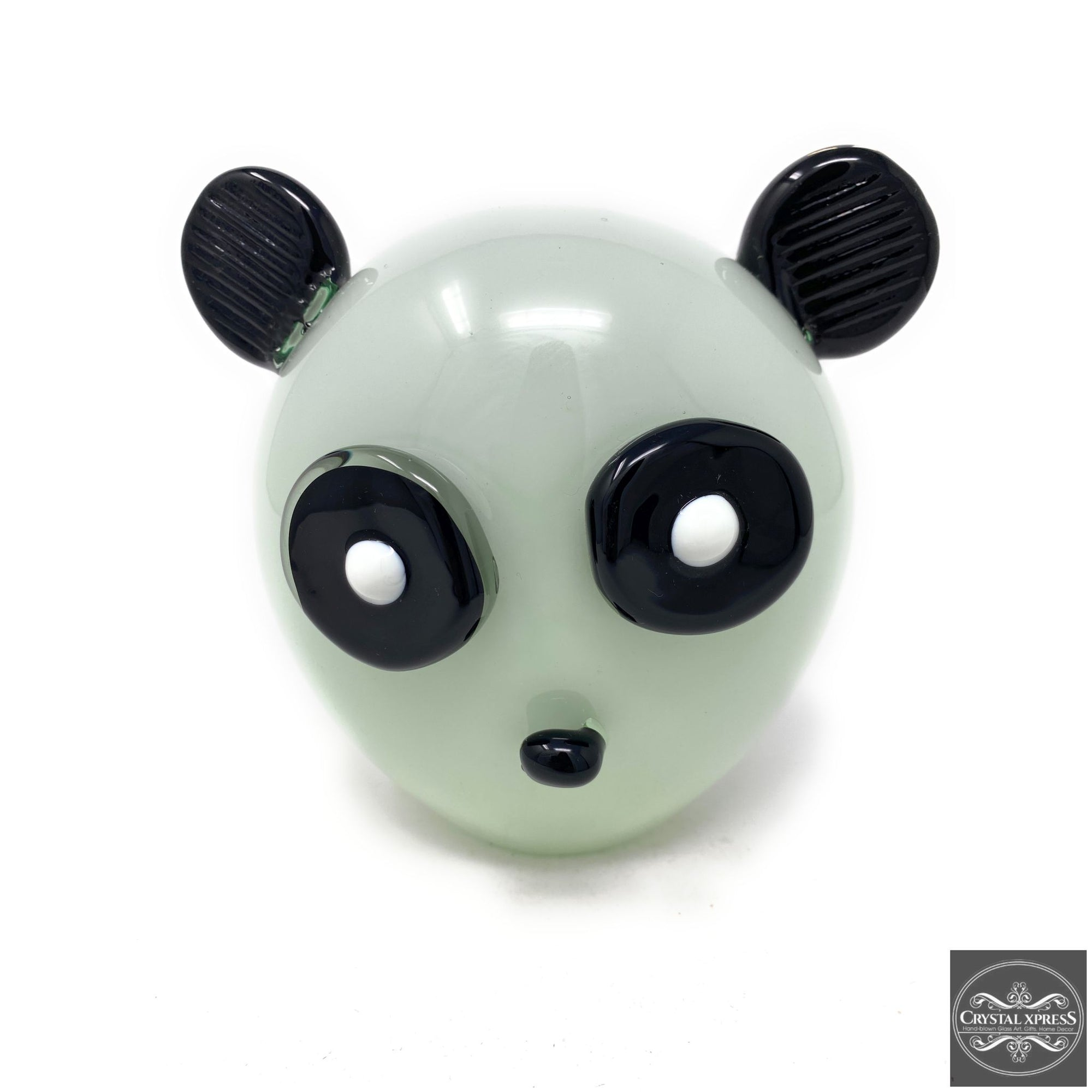 "New 7"" Hand Blown Glass Panda Head Sculpture ArtCrystal Xpress"