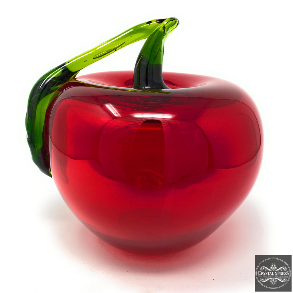 "New 8"" Diameter Hand-Blown Glass Ultra Bright Red Apple Sculpture"