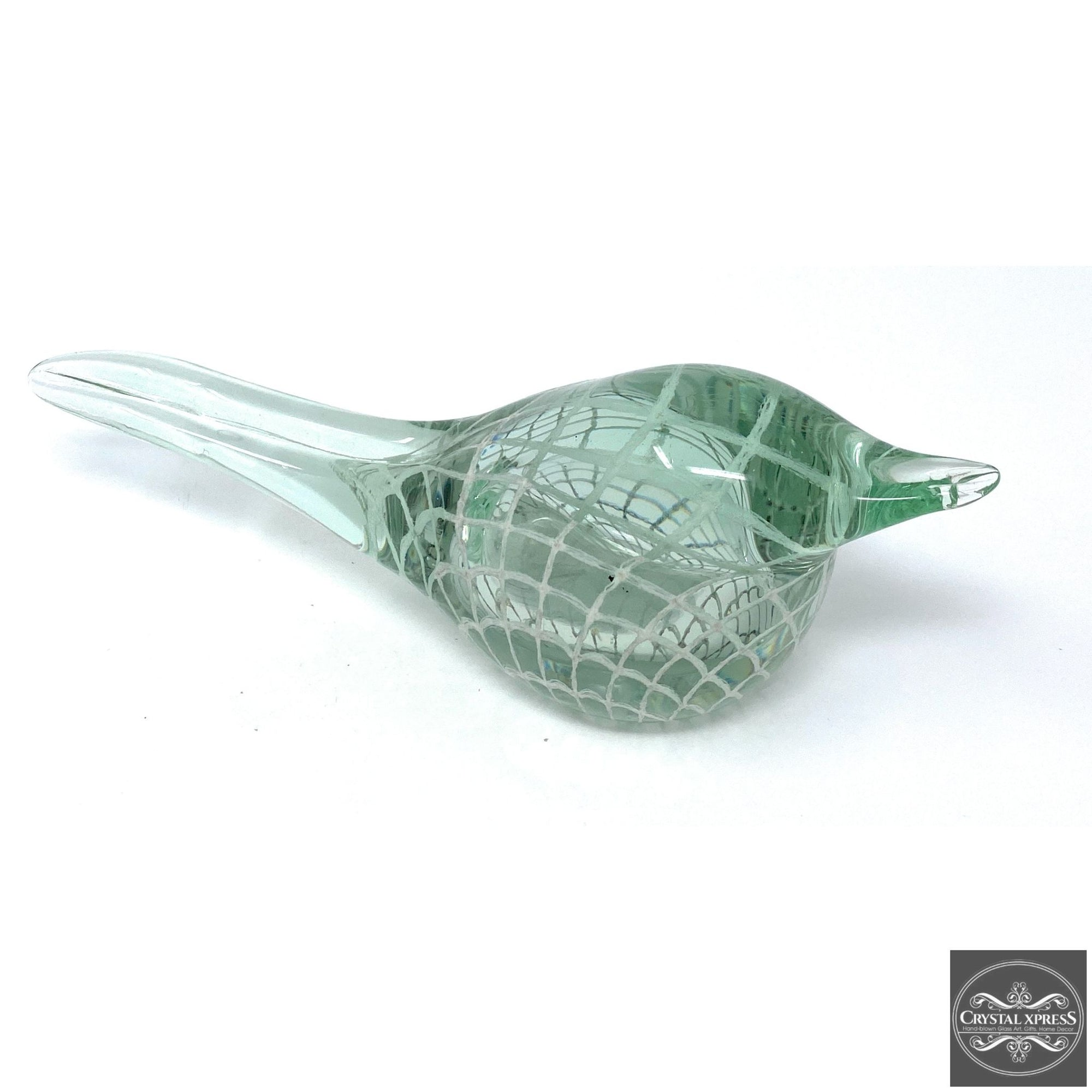 "New 8"" Hand Blown Glass Light Green Glass Bird Sculpture Figurine ArtCrystal Xpress"