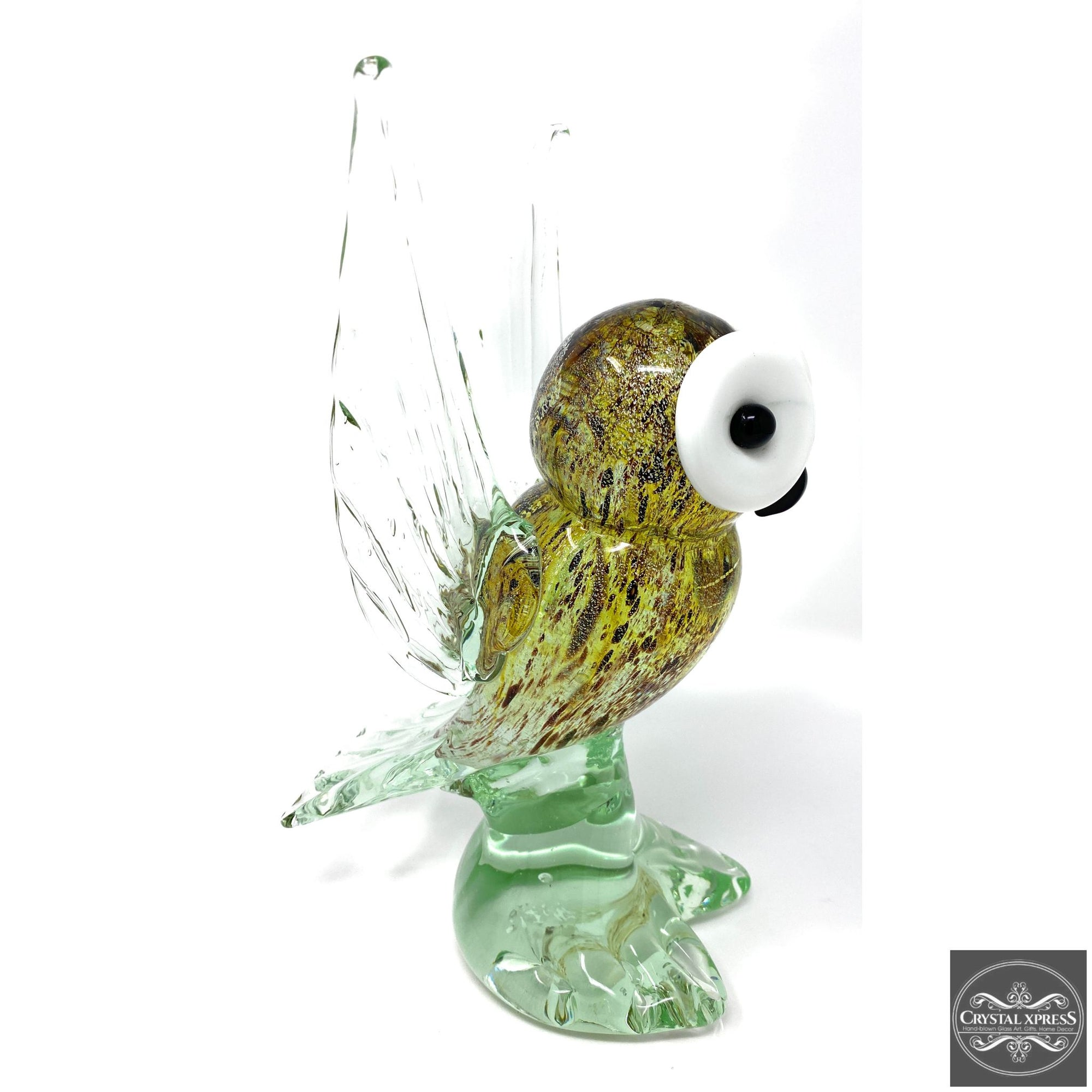 "New 9"" Hand Blown Glass Arctic Owl Glass Murano Style Art Sculpture FigurineCrystal Xpress"