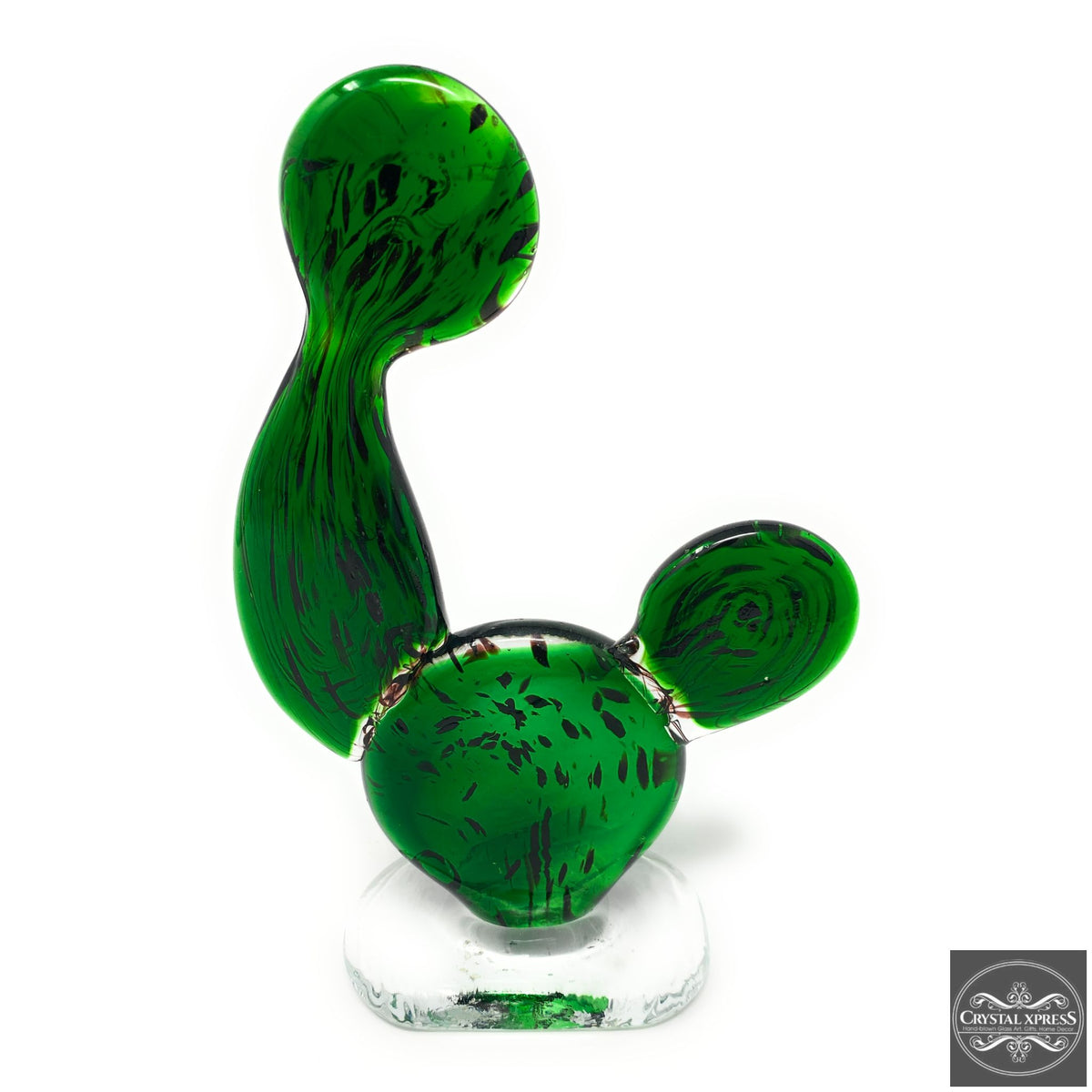 "New 8"" Hand Blown Glass Green Desert CactusCrystal Xpress"