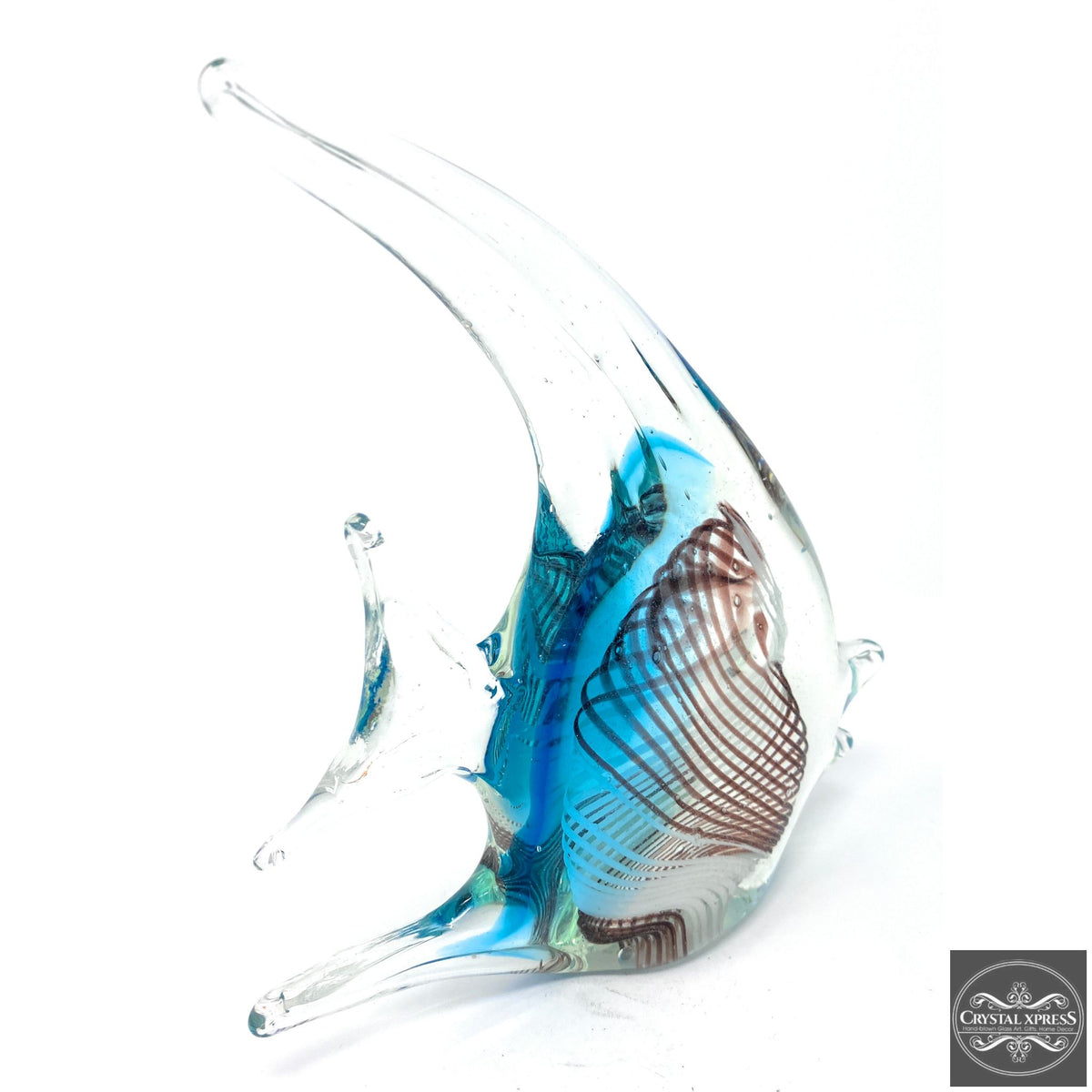 "One of a Kind 8"" hand Blown Glass Blue FishCrystal Xpress"