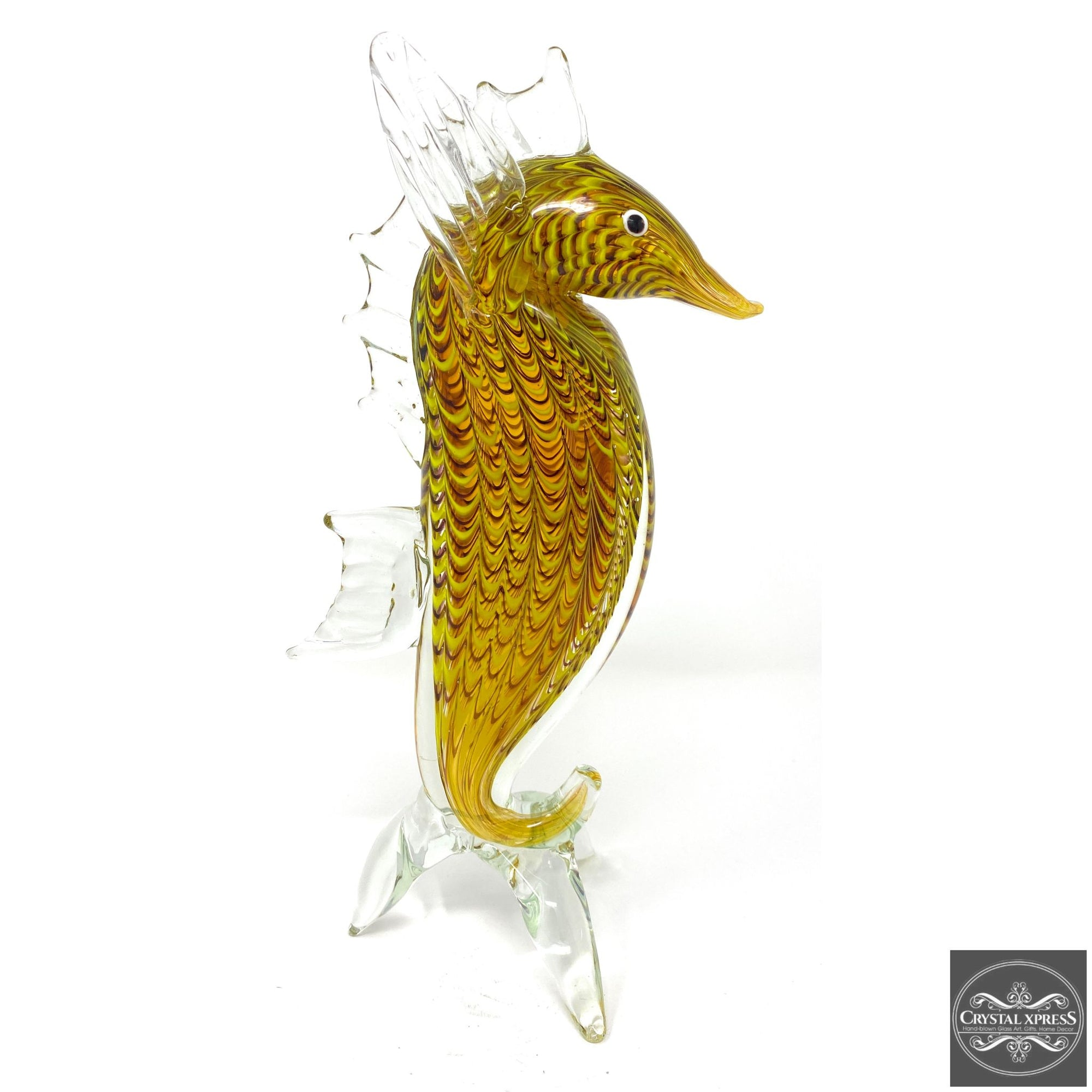 "New 11"" Hand Blown Glass Golden Amber Seahorse Sculpture Figurine Art Home DecorCrystal Xpress"