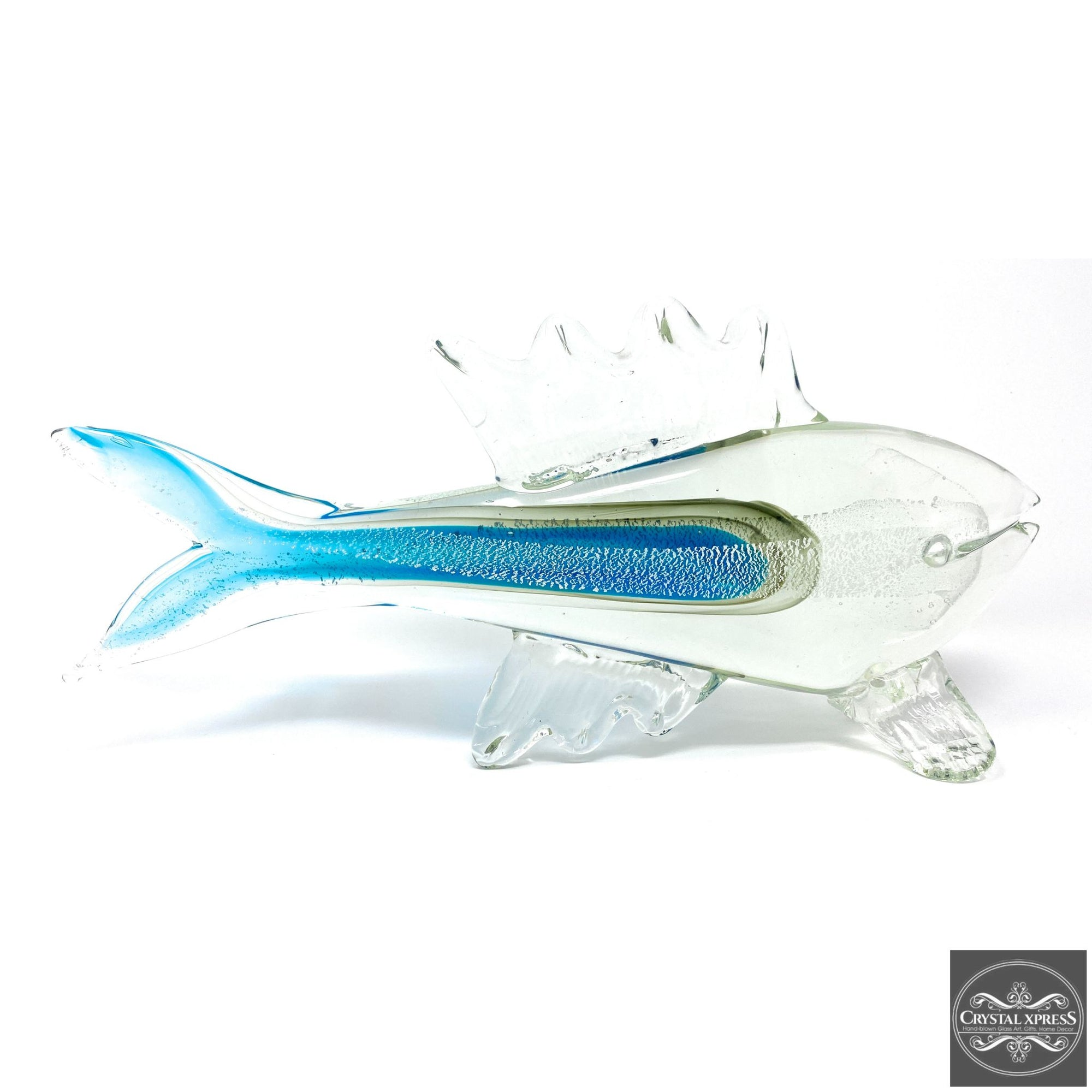 "New 14"" Hand  blown Glass Blue and Clear Fish Sculpture FigurineCrystal Xpress"