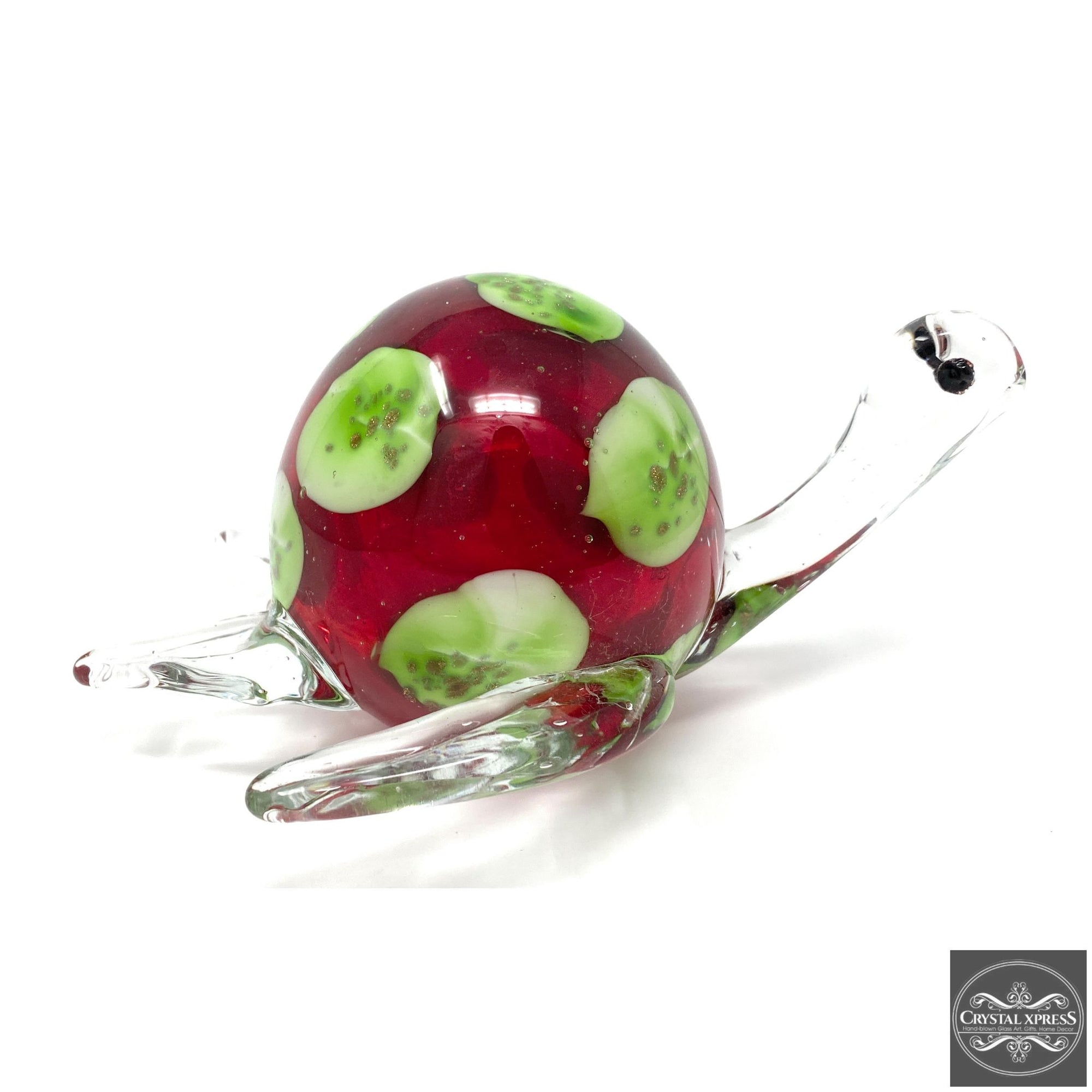 "New 9"" Hand Blown Glass Sea Turtle with Red and Green Colors Figurine SculptureCrystal Xpress"