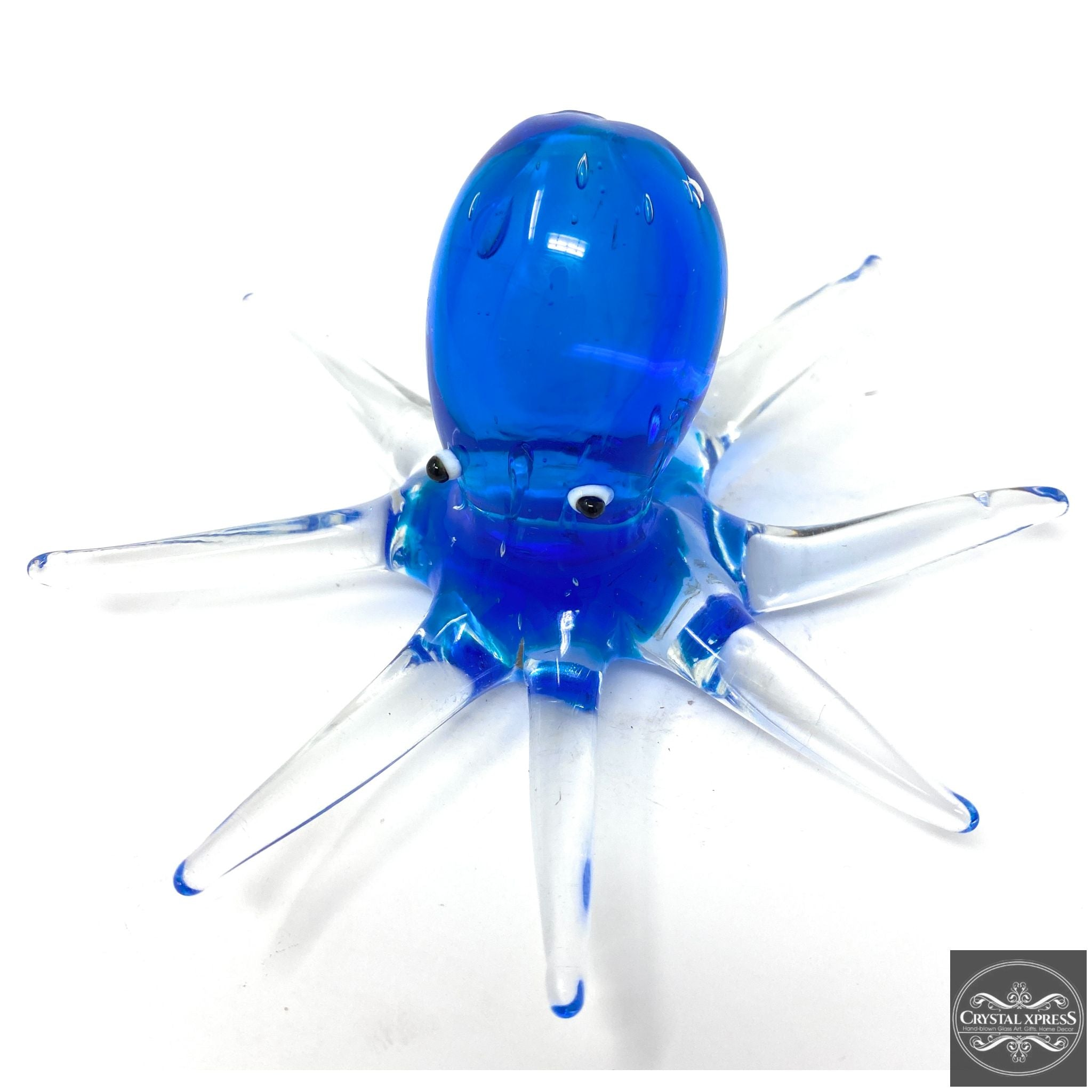 "New 5"" Hand Blown Glass Clear Blue Octopus Figurine Sculpture"