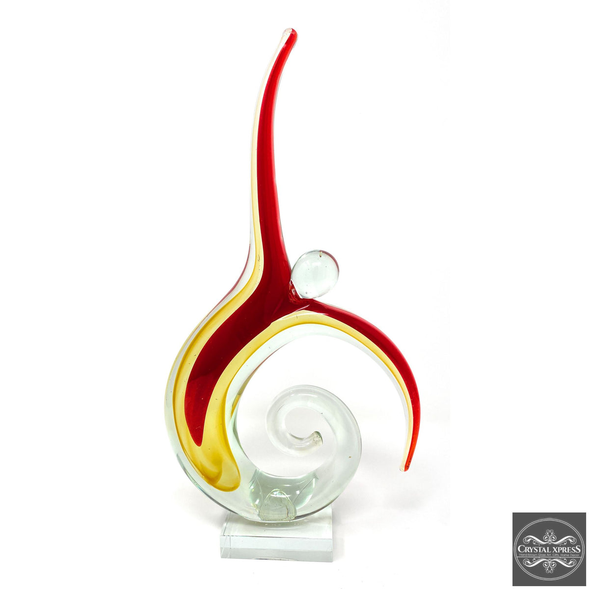 "16"" Hand Blown Glass Abstract Art Ballet Dancer SculptureCrystal Xpress"