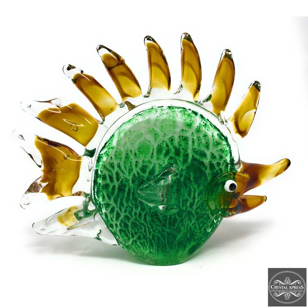"New 9"" Crafted Hand Blown Glass Green and Yellow Fins Fish Sculpture Figurine Art Decor"