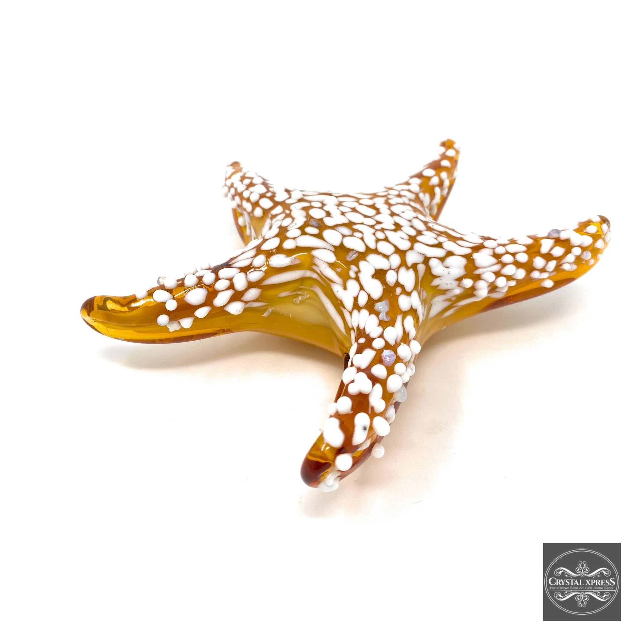 "7.5"" Amber with White Dots Hand Blown Glass Starfish Figurine SculptureCrystal Xpress"