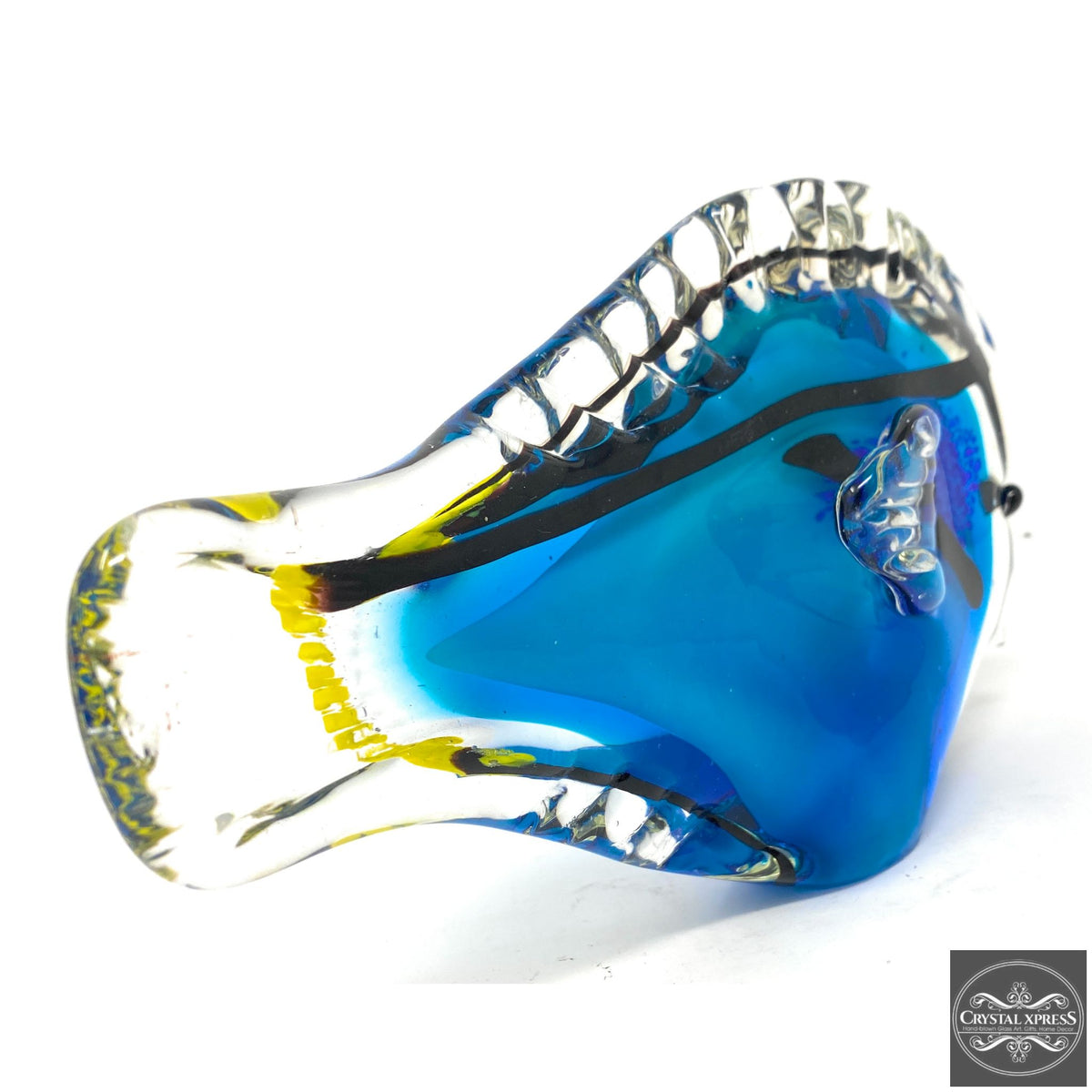 "10.5"" Blue with Yellow Tail Hand Blown Glass Tropical Clownfish FishCrystal Xpress"