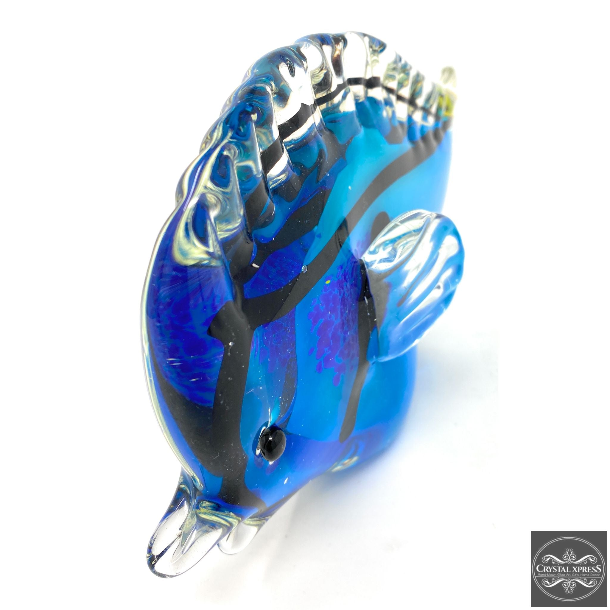 "10.5"" Blue with Yellow Tail Hand Blown Glass Tropical Clownfish Fish"