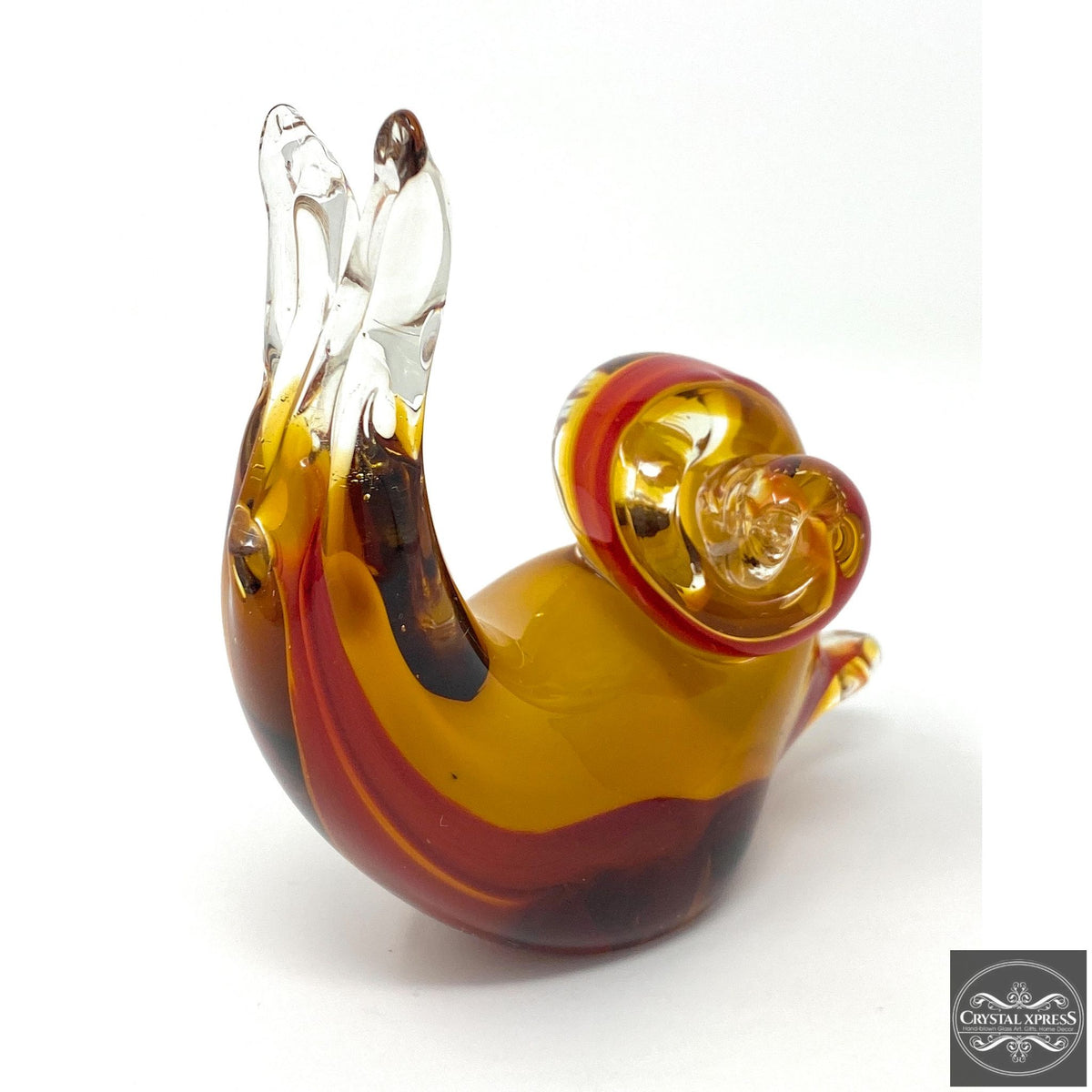 "New 4.5"" Hand Blown Glass Cute Snail Figurine Sculpture Red and Yellow Stained Glass ColorCrystal Xpress"
