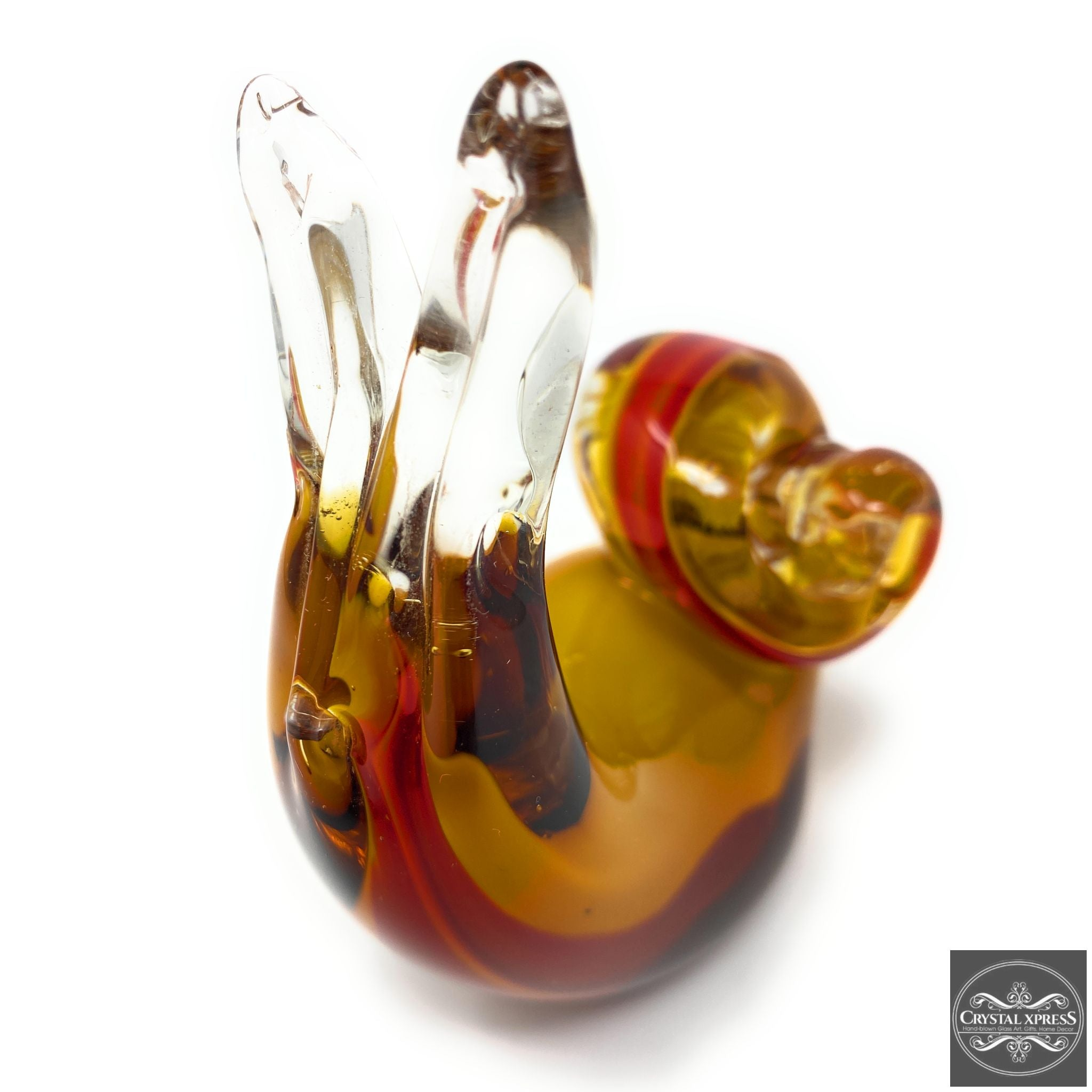 "New 4.5"" Hand Blown Glass Cute Snail Figurine Sculpture Red and Yellow Stained Glass Color"