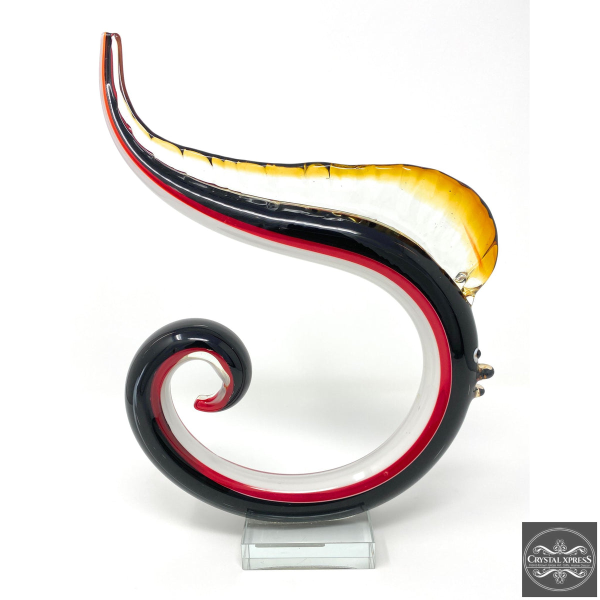 "12"" Hand Blown Glass Abstract Fish SculptureCrystal Xpress"