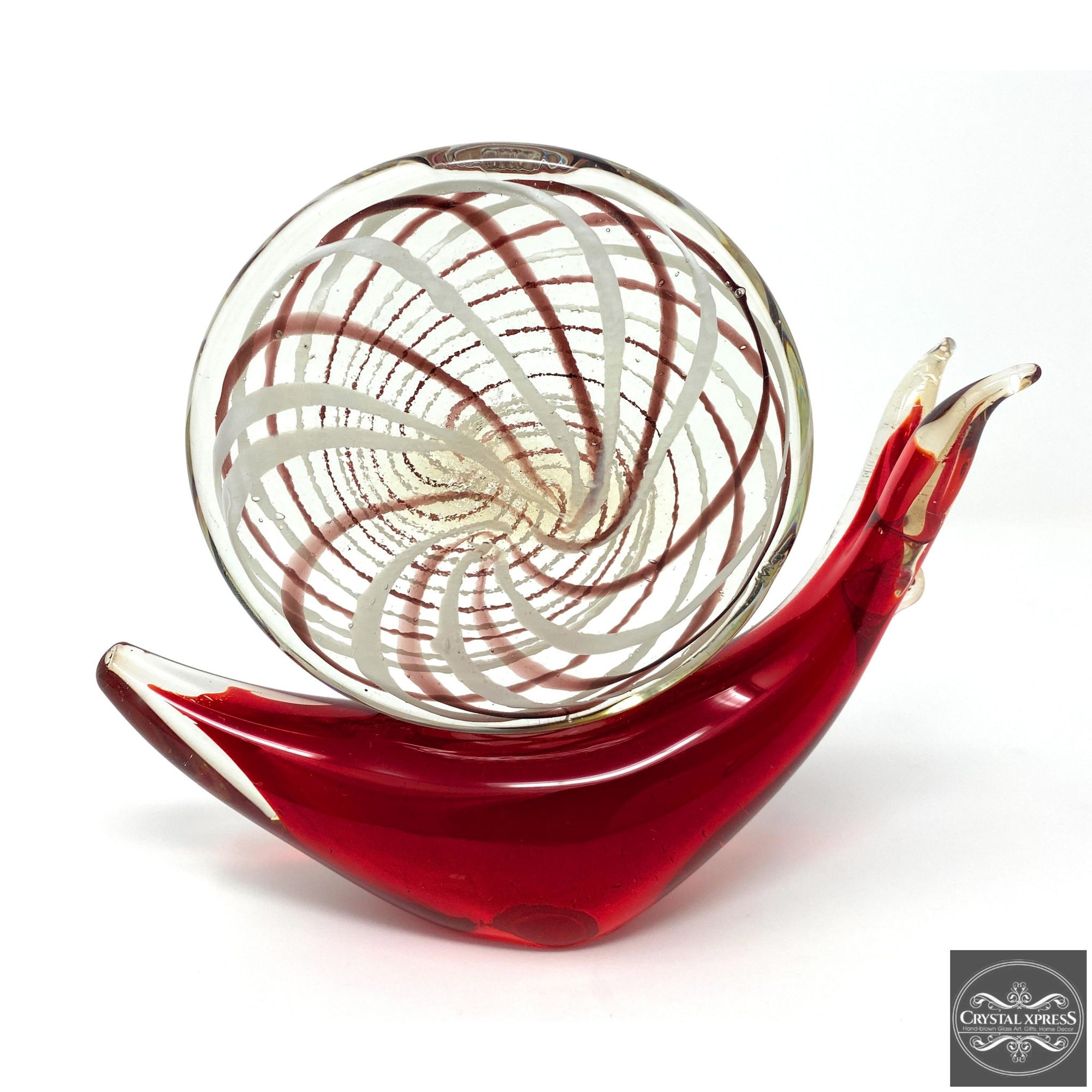 "New 9"" Beautiful Hand Blown Glass Snail Figurine SculptureCrystal Xpress"
