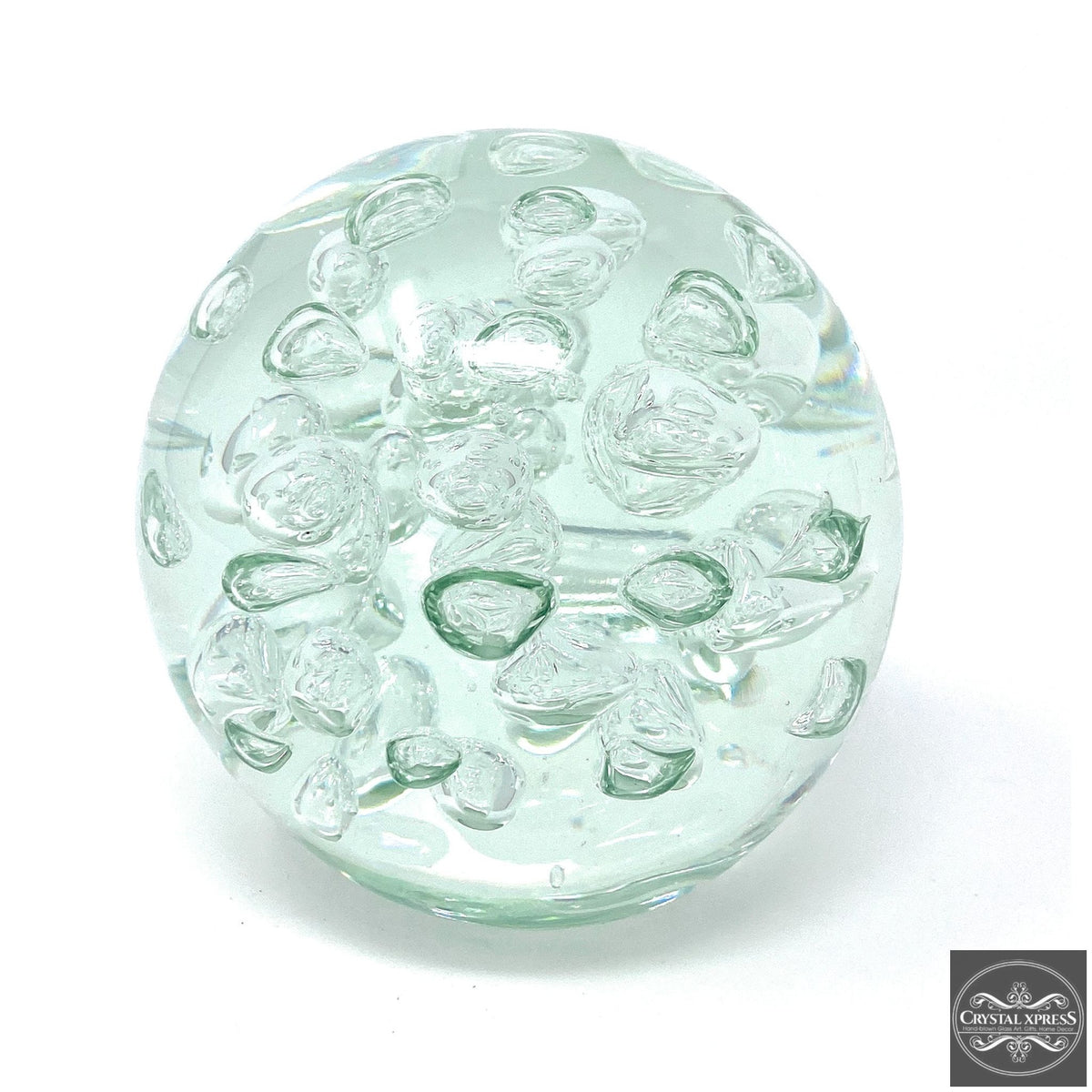 Clear White Glass Paperweight 5.5 inchCrystal Xpress