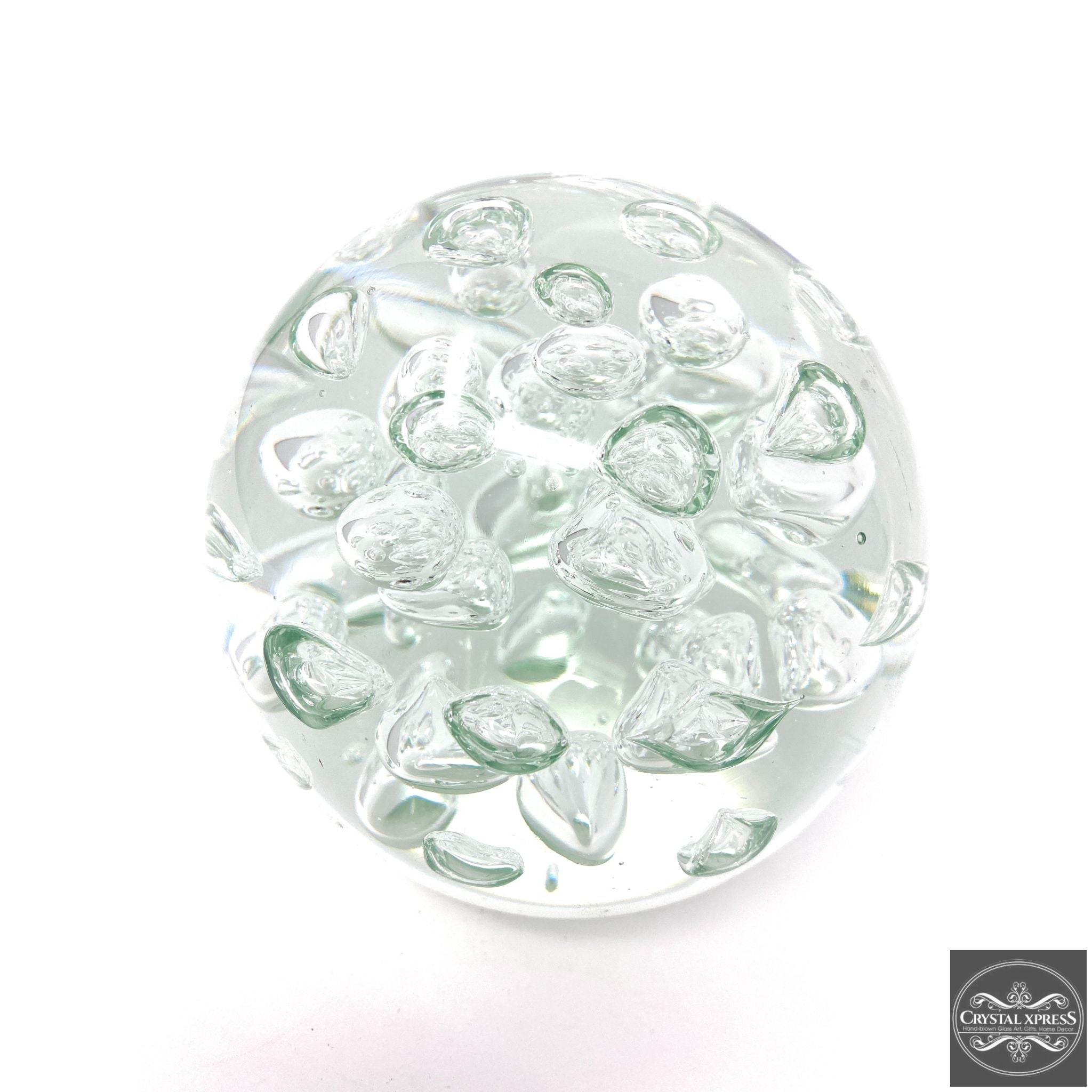 Clear White Glass Paperweight 4.5 inch