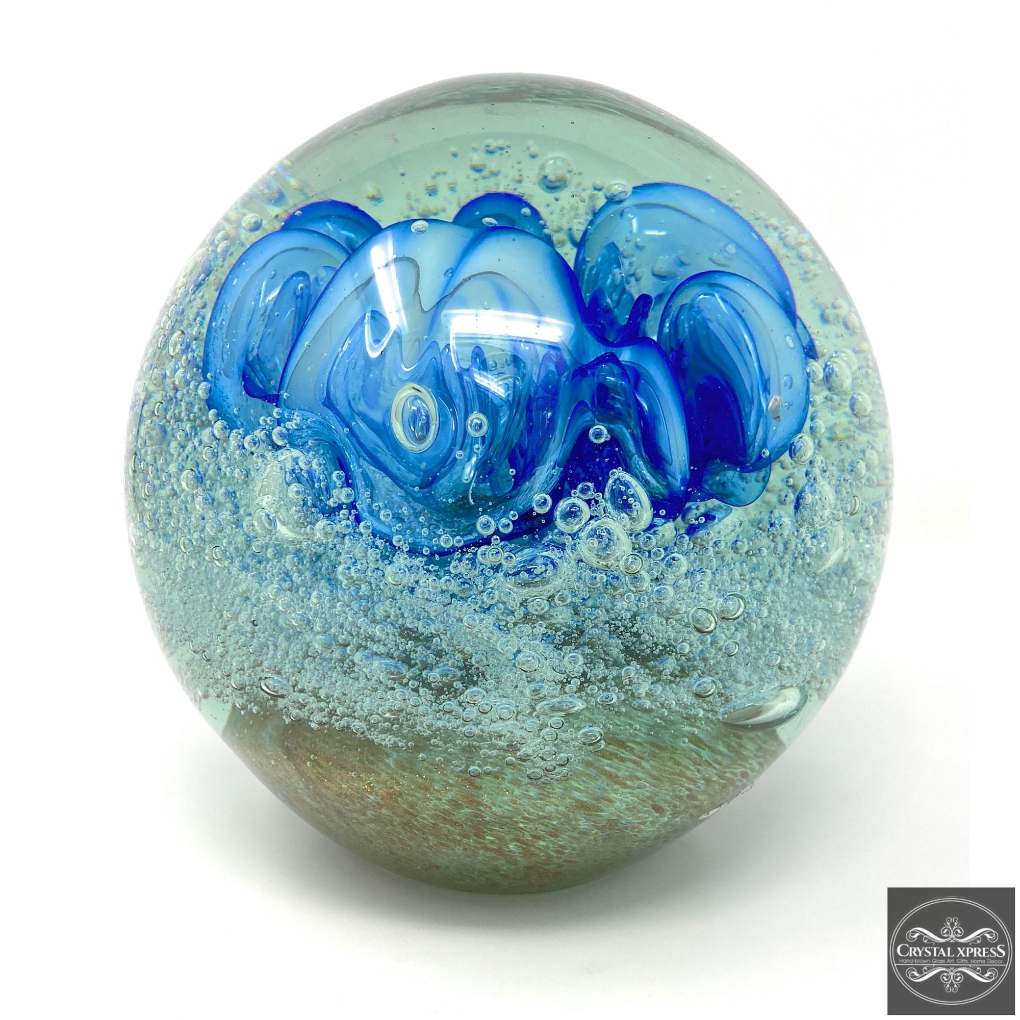 Glass Paperweight with Blue Flower 7 inch DiameterCrystal Xpress