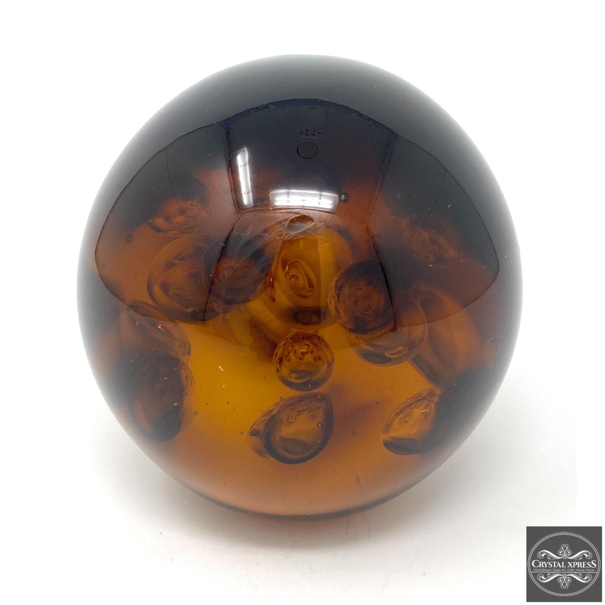 Glass Amber Paperweight 4.5 inch DiameterCrystal Xpress