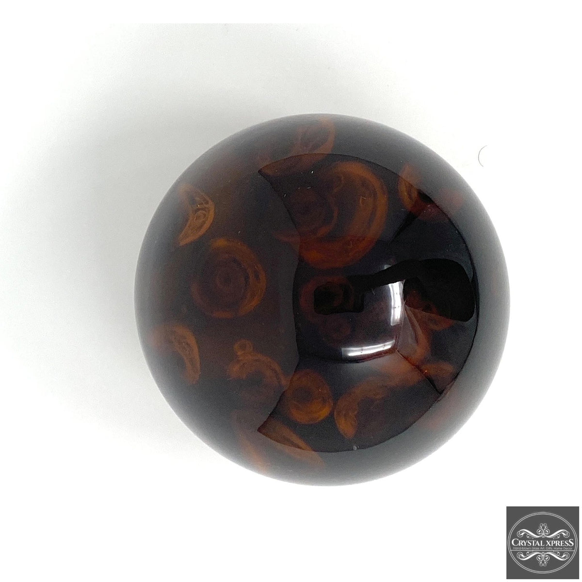 Glass Amber Paperweight 5.5 inch DiameterCrystal Xpress