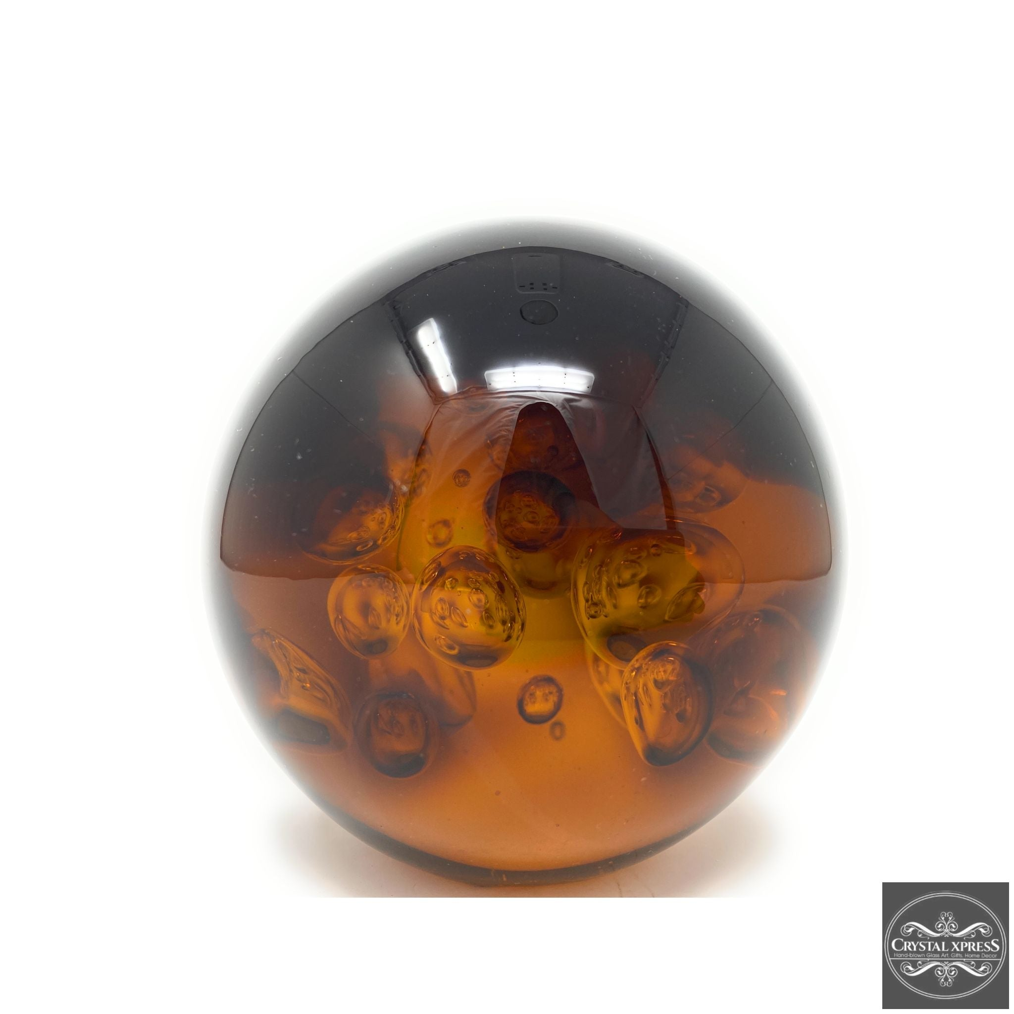 Glass Amber Paperweight 5.5 inch Diameter