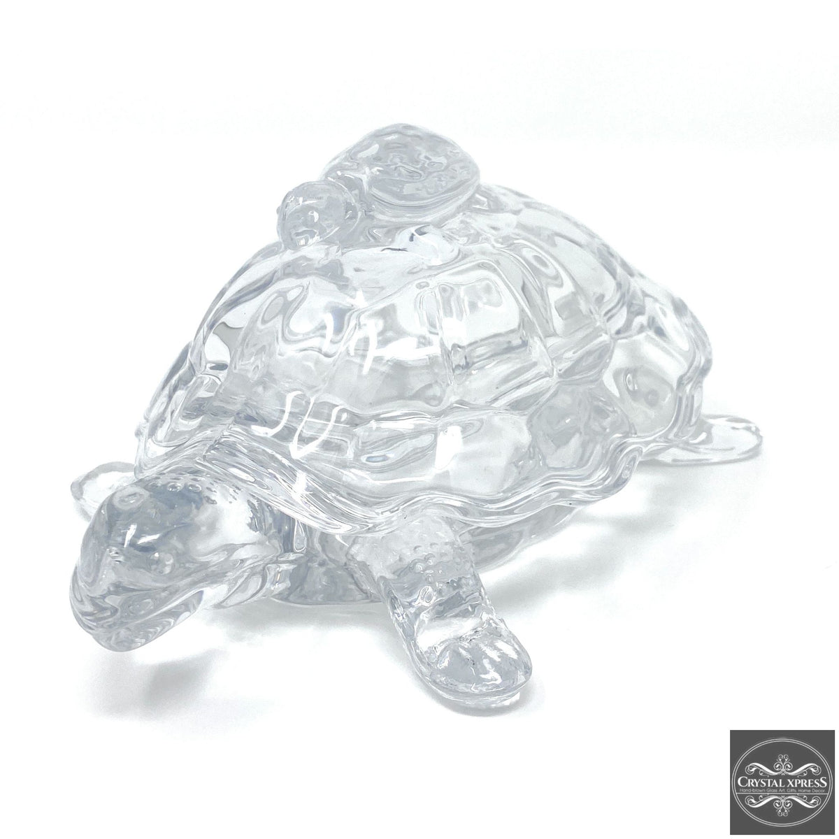 "New 7"" Hand Blown Glass Turtle with Mini Turtle On The Top Sculpture Figurine Back Can Be Open as a Gift BoxCrystal Xpress"