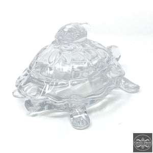 "New 7"" Hand Blown Glass Turtle with Mini Turtle On The Top Sculpture Figurine Back Can Be Open as a Gift Box"