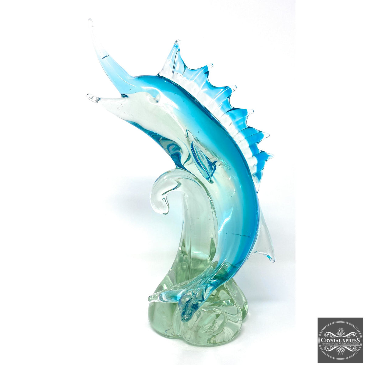 "13.5"" Tall One of a Kind Limited Quantity Art Hand Blown Glass Swordfish SculptureCrystal Xpress"