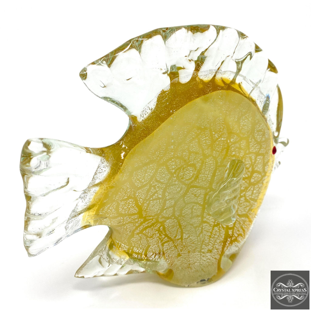"New 8"" Hand Blown Glass Yellow Fish with Red Eyes Sculpture Figurine Art DecorCrystal Xpress"