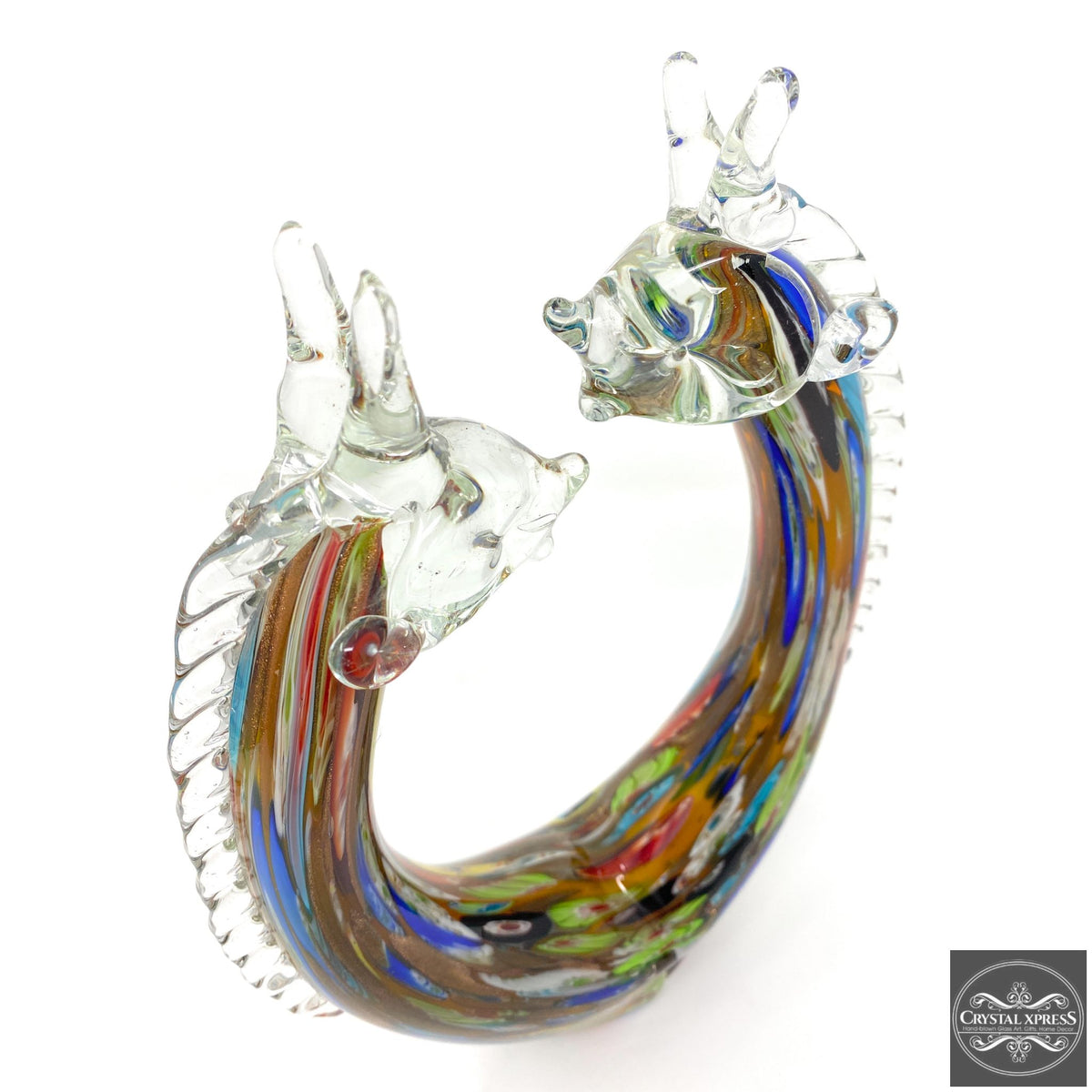 "13"" Limited Quantity Hand Blown Glass Abstract Art Colorful Giraffe SculptureCrystal Xpress"