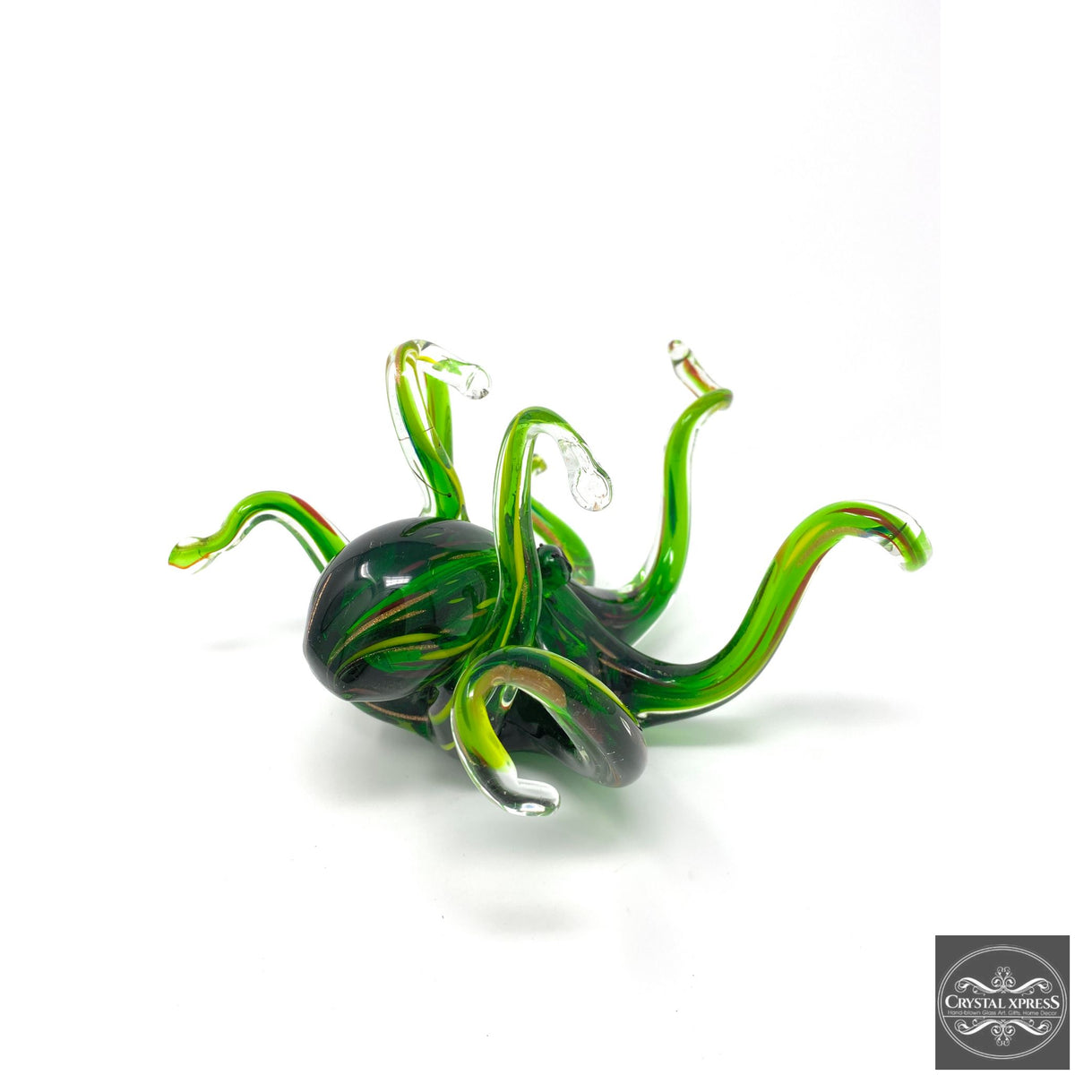 "New 10"" Beautiful Hand Blown Glass Life Like Bright Green Octopus Sculpture Figurine Sea CreatureCrystal Xpress"