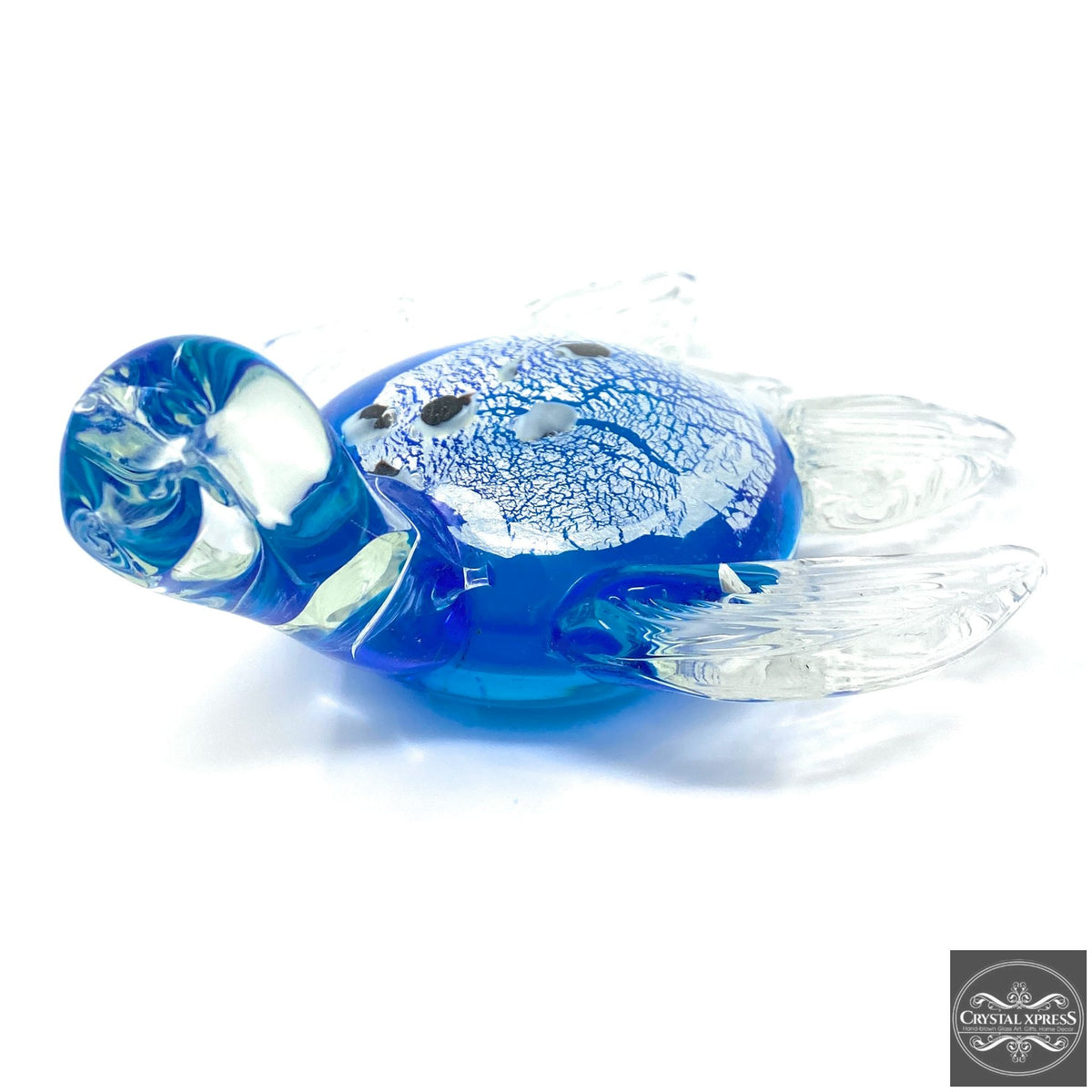 "New 5"" Hand Blown Glass Blue Back Turtle Figurine SculptureCrystal Xpress"